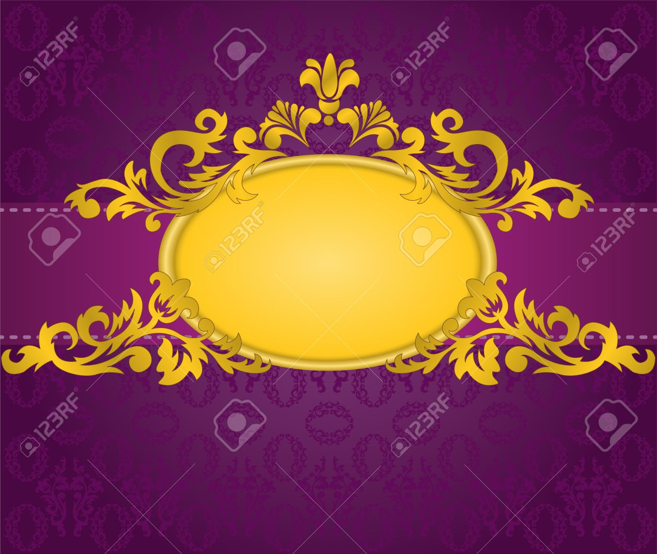 gold oval frame with a horizontal stripe on a purple background Stock Vector - 9113236
