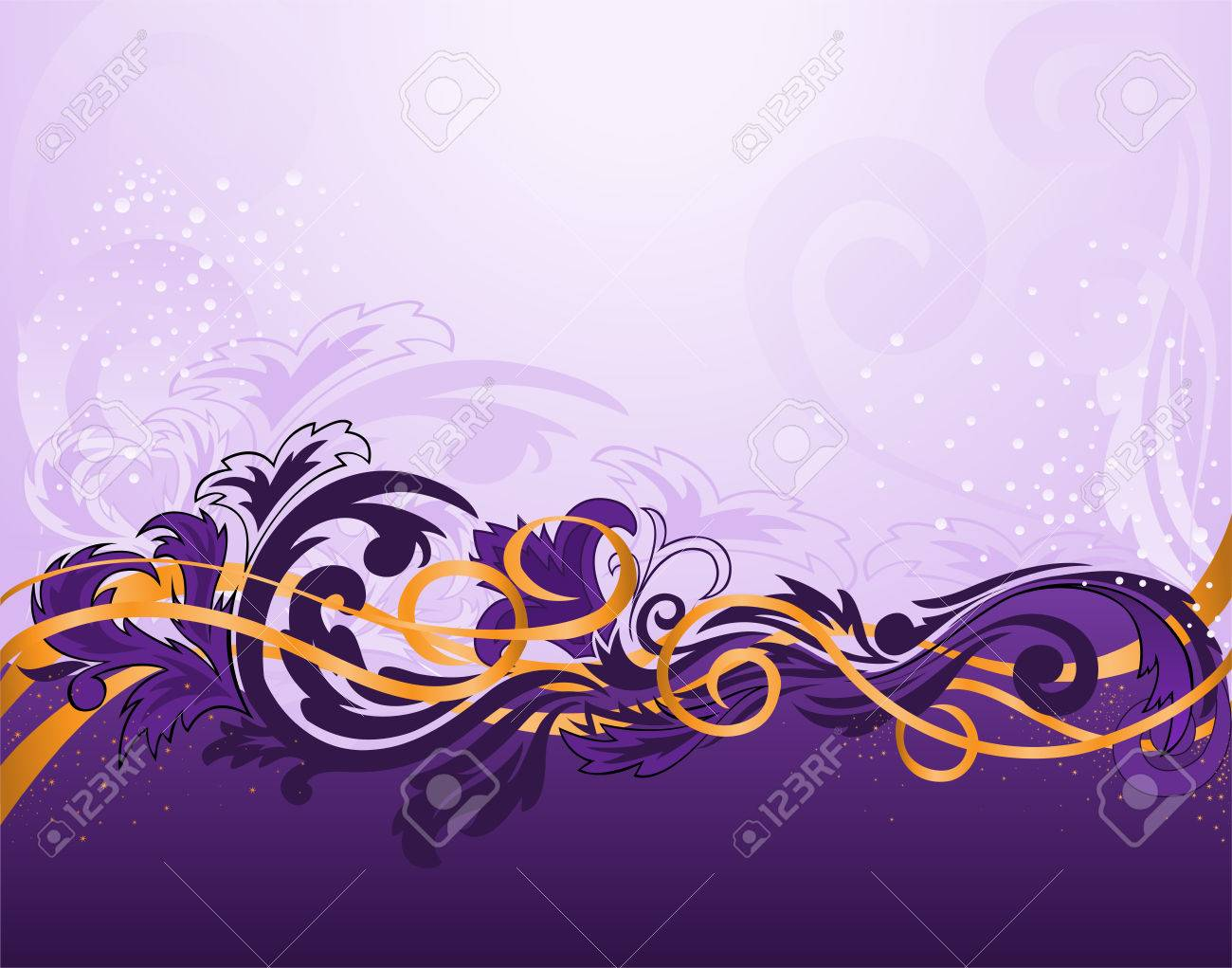 purple horizontal stripe patterned with gold ribbons Stock Vector - 9113232