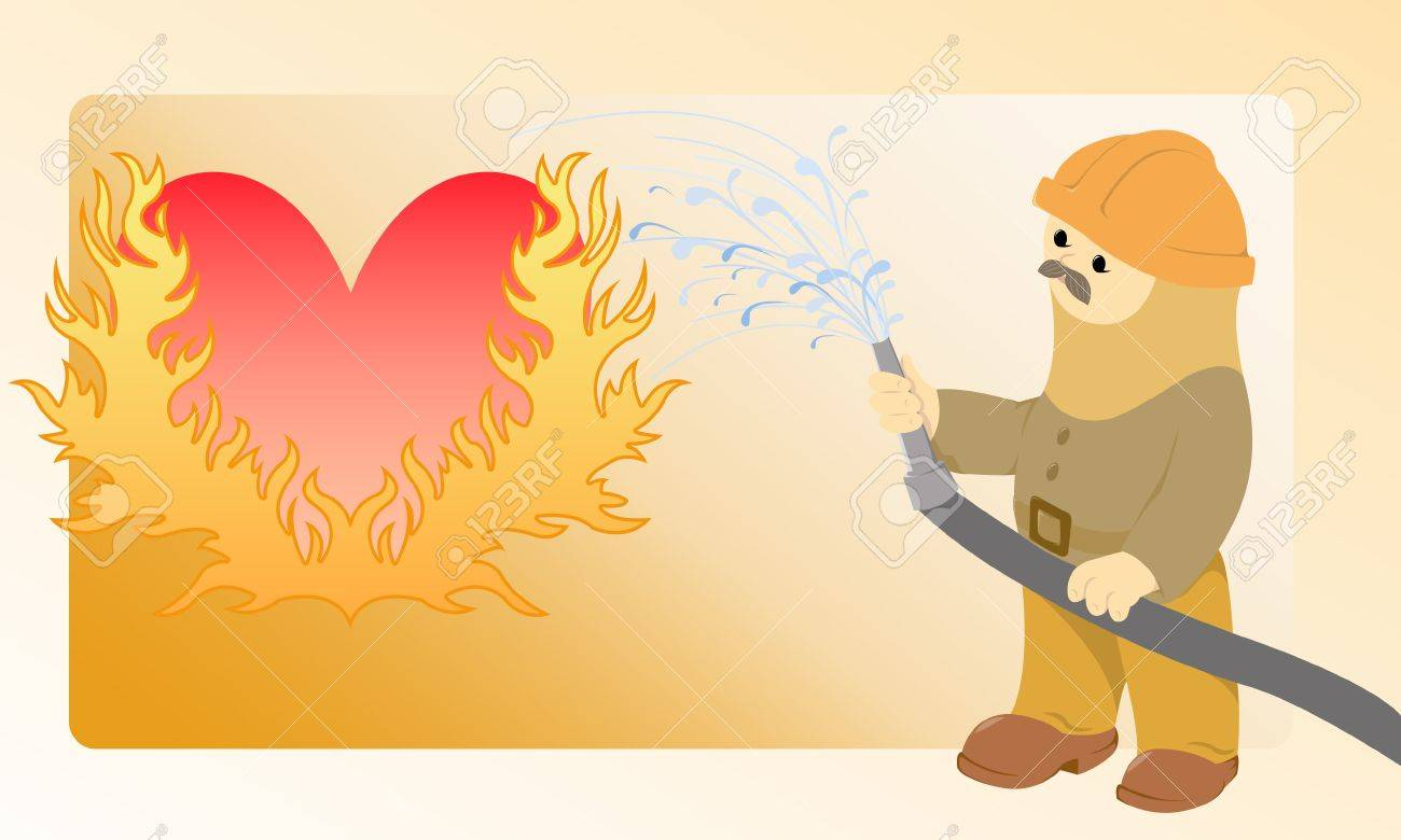 The moustached firefighter pours water from a hose flaming heart Stock Vector - 9180130