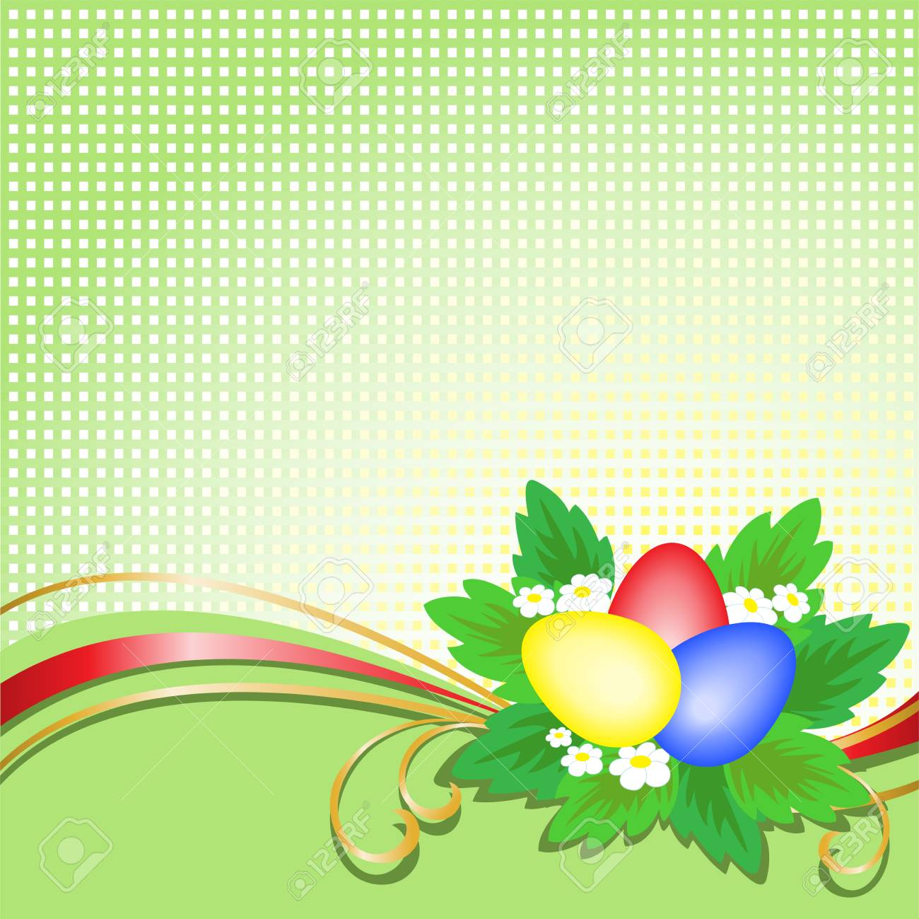 three Easter eggs with a bouquet on a green plaid background Stock Vector - 9222982