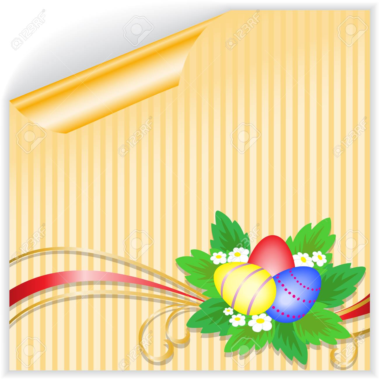 three Easter eggs with a bouquet on the yellow striped sticker Stock Vector - 9256127