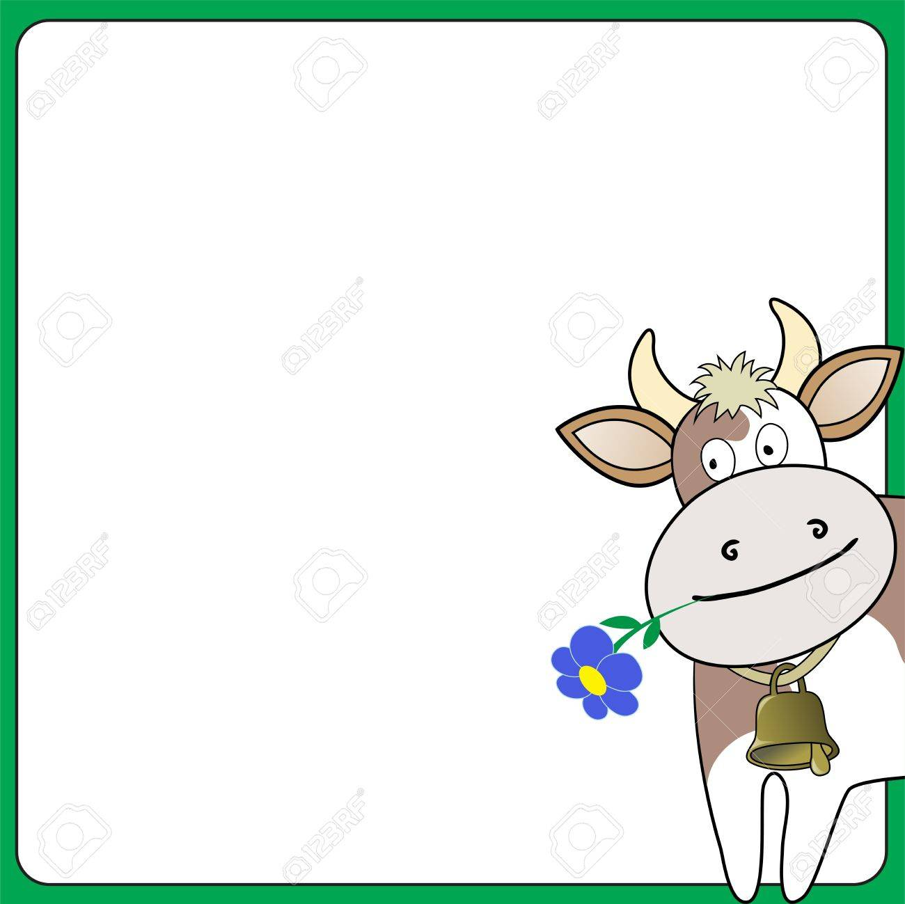 cow with a flower looks out over the white square Stock Vector - 9311466