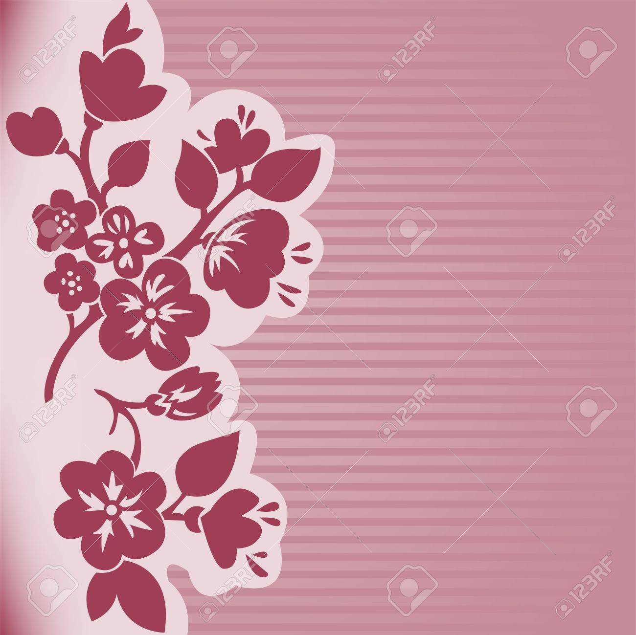 silhouette of flowering branch on a pink striped background Stock Vector - 9427021