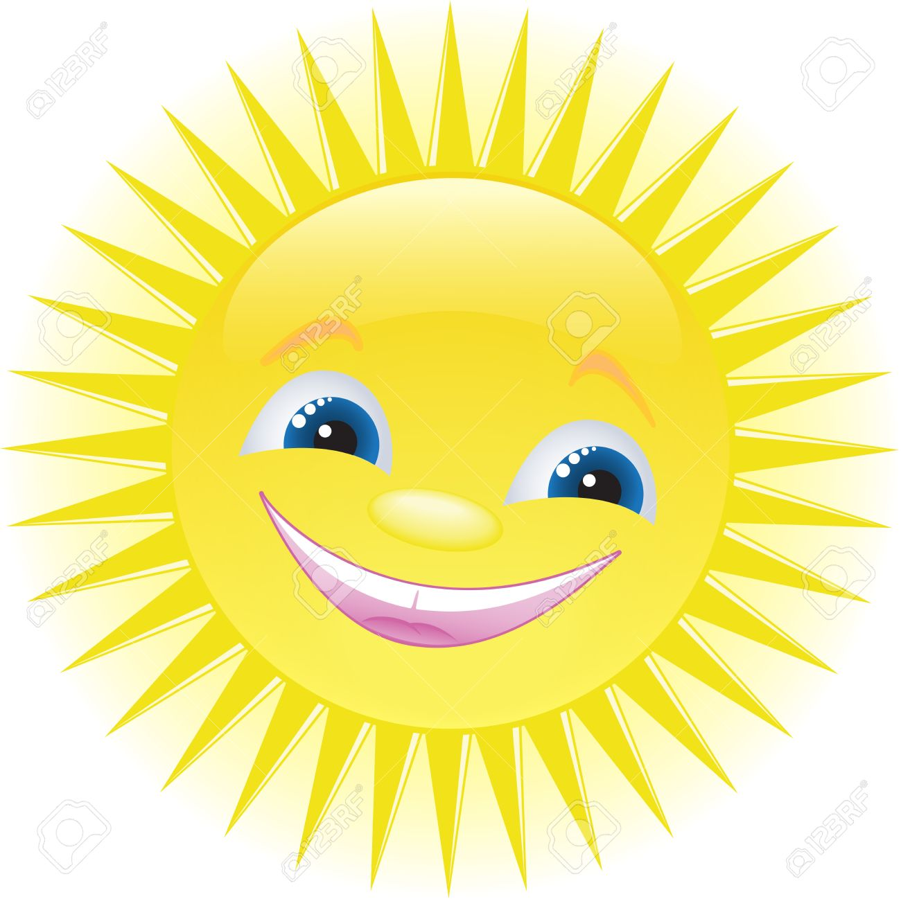 funny smiling sun with blue eyes - 9465152