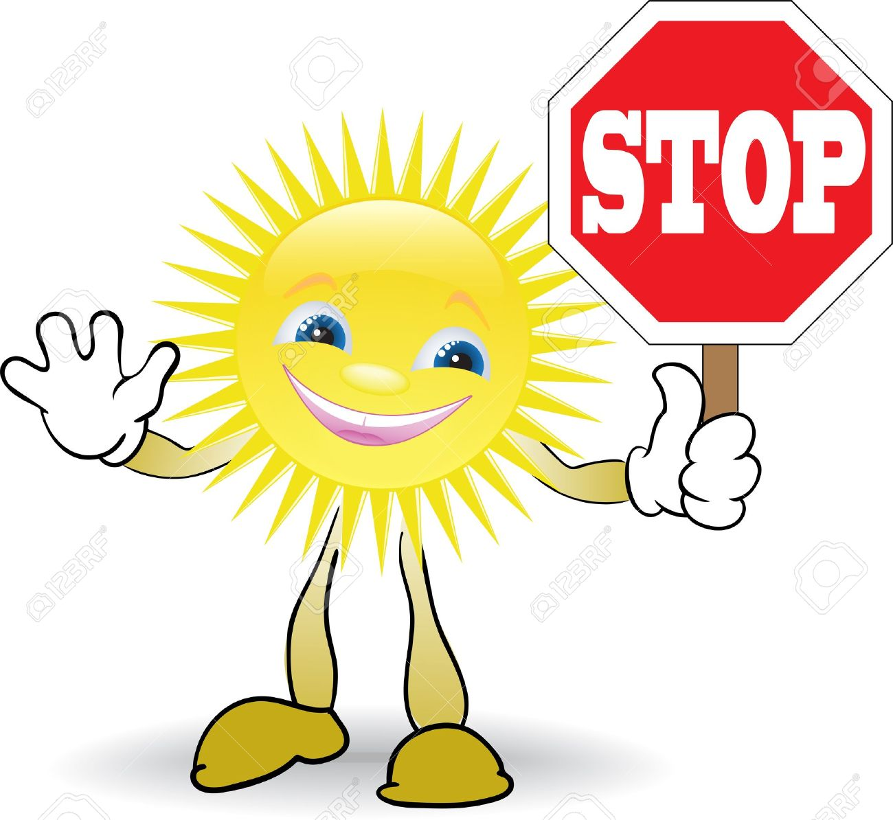 cartoon sun holding red STOP sign Stock Vector - 9529031