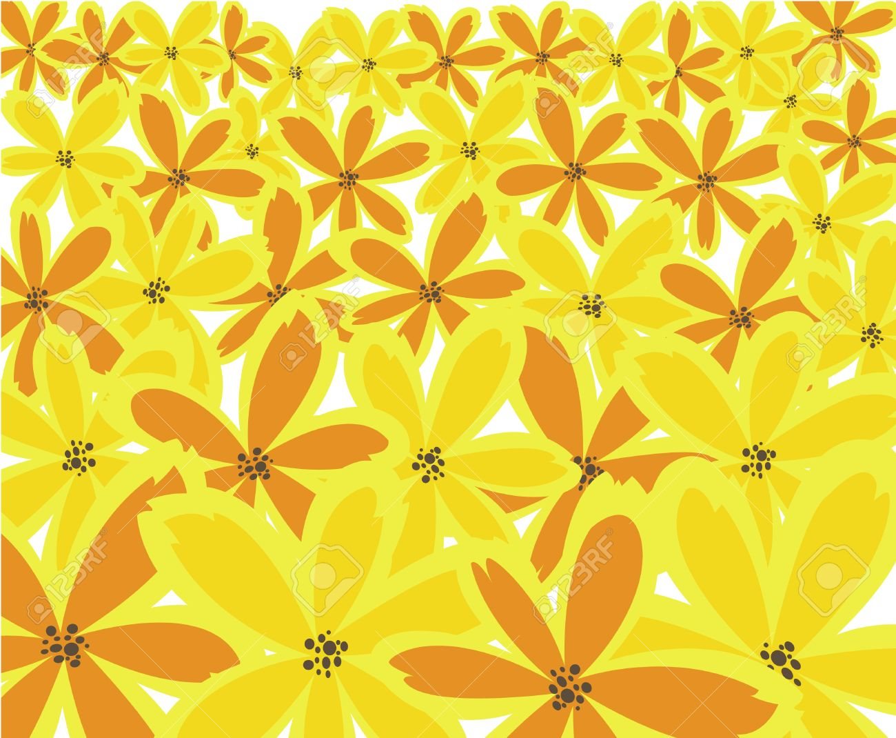 Abstract Floral Background From Orange And Yellow Flowers Royalty
