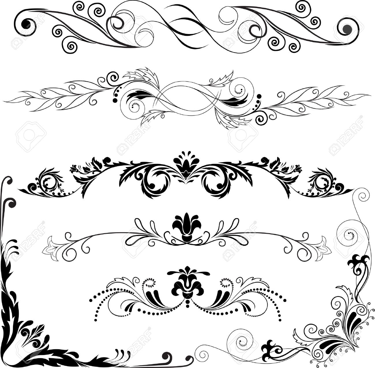 Of Decorative Horizontal Fancy Line Accent Clipart
