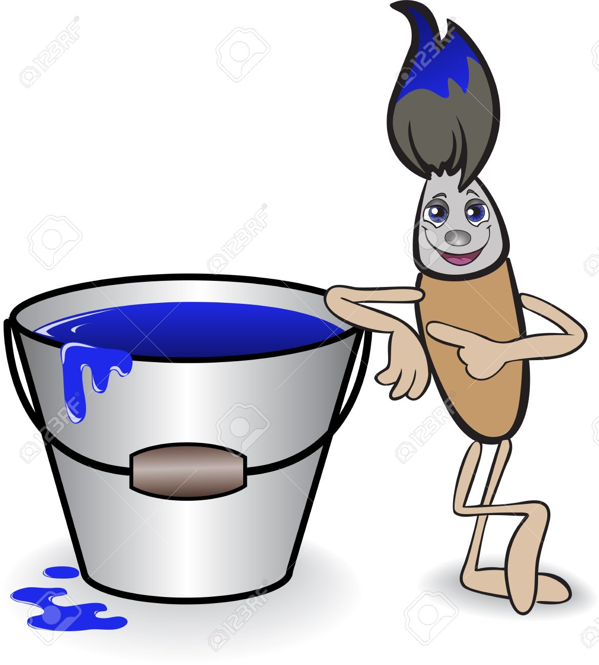 cartoon brush with a big bucket of blue paint Stock Vector - 9556633