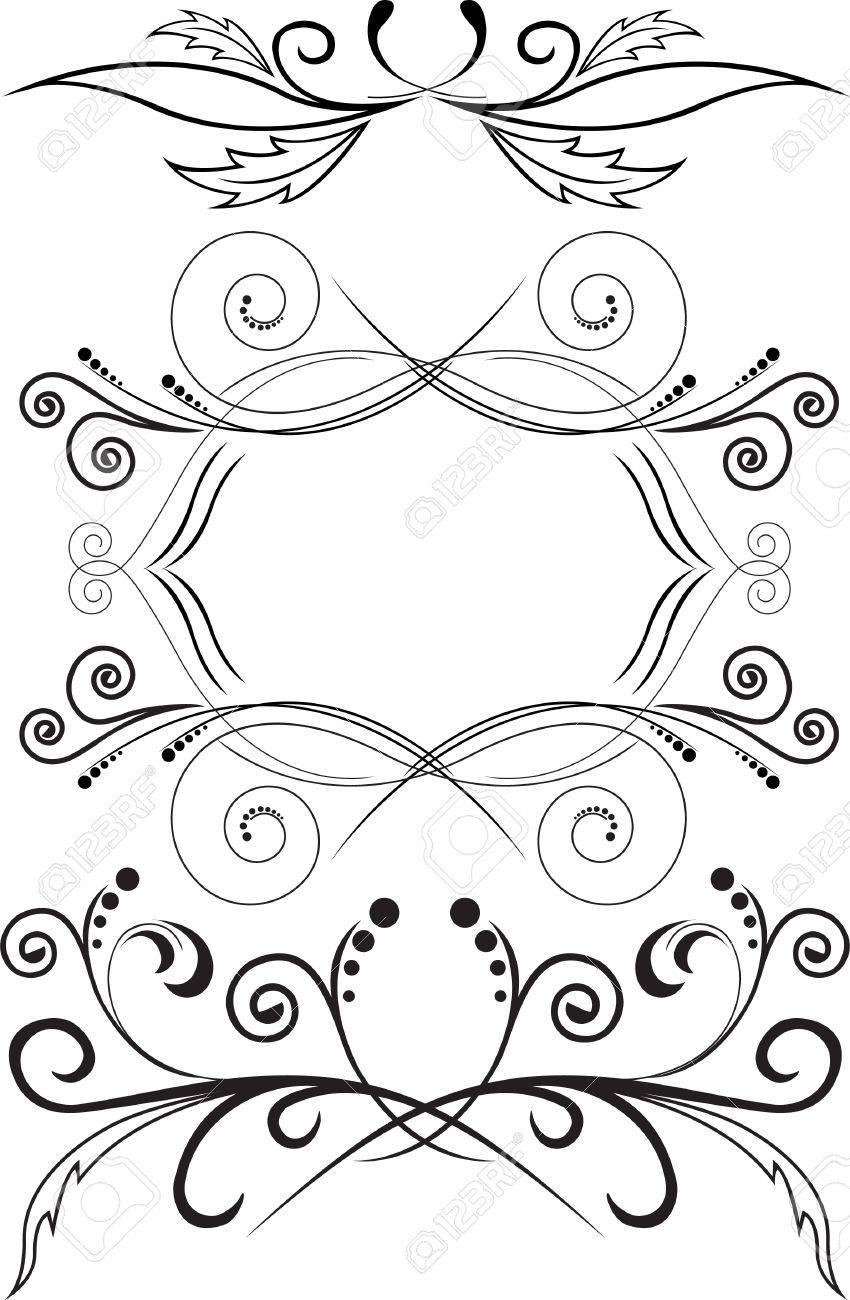 set of three black abstract patterns on a white background Stock Vector - 9604111