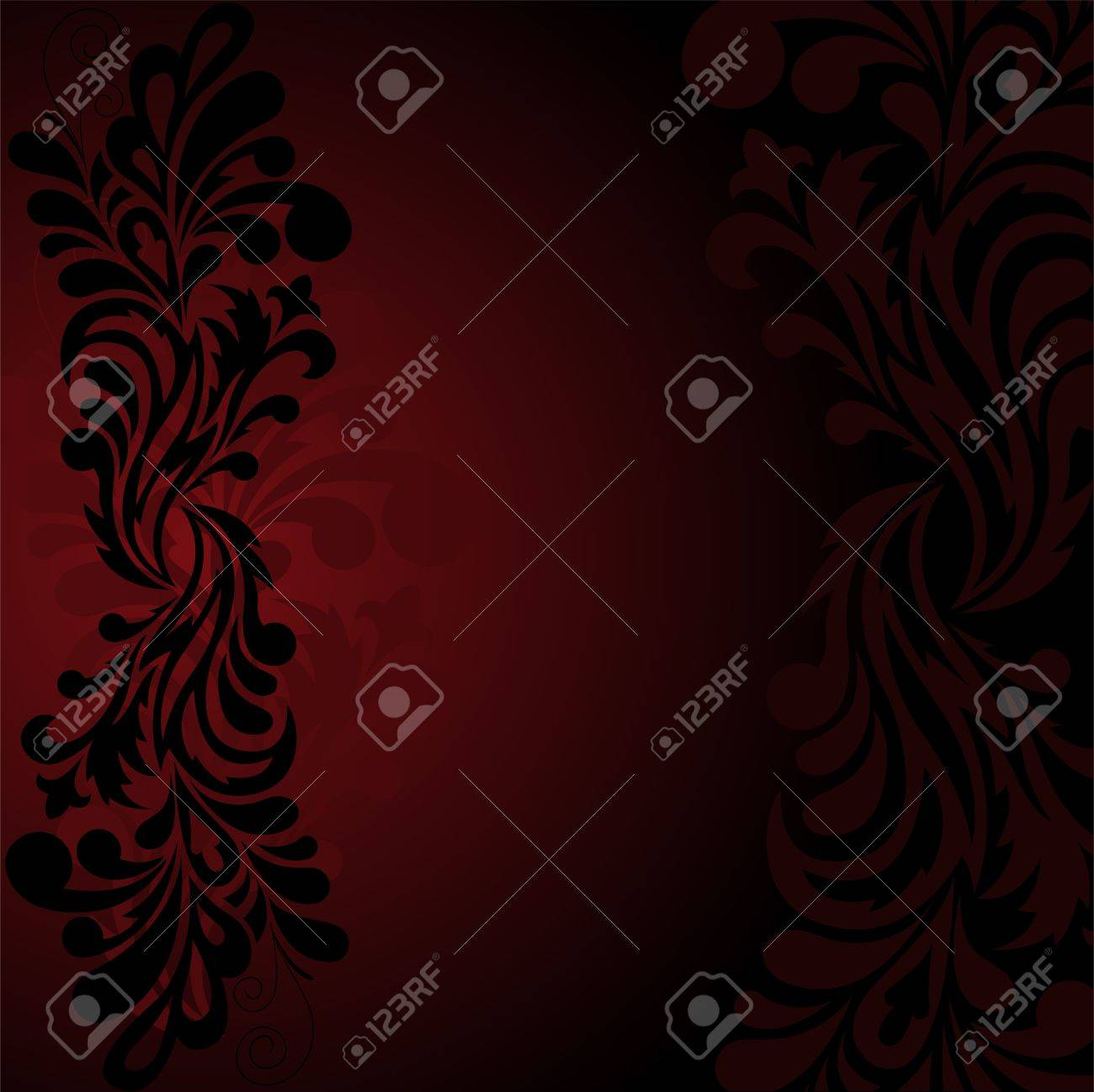 beautiful black ornament on the dark red background - 9716497