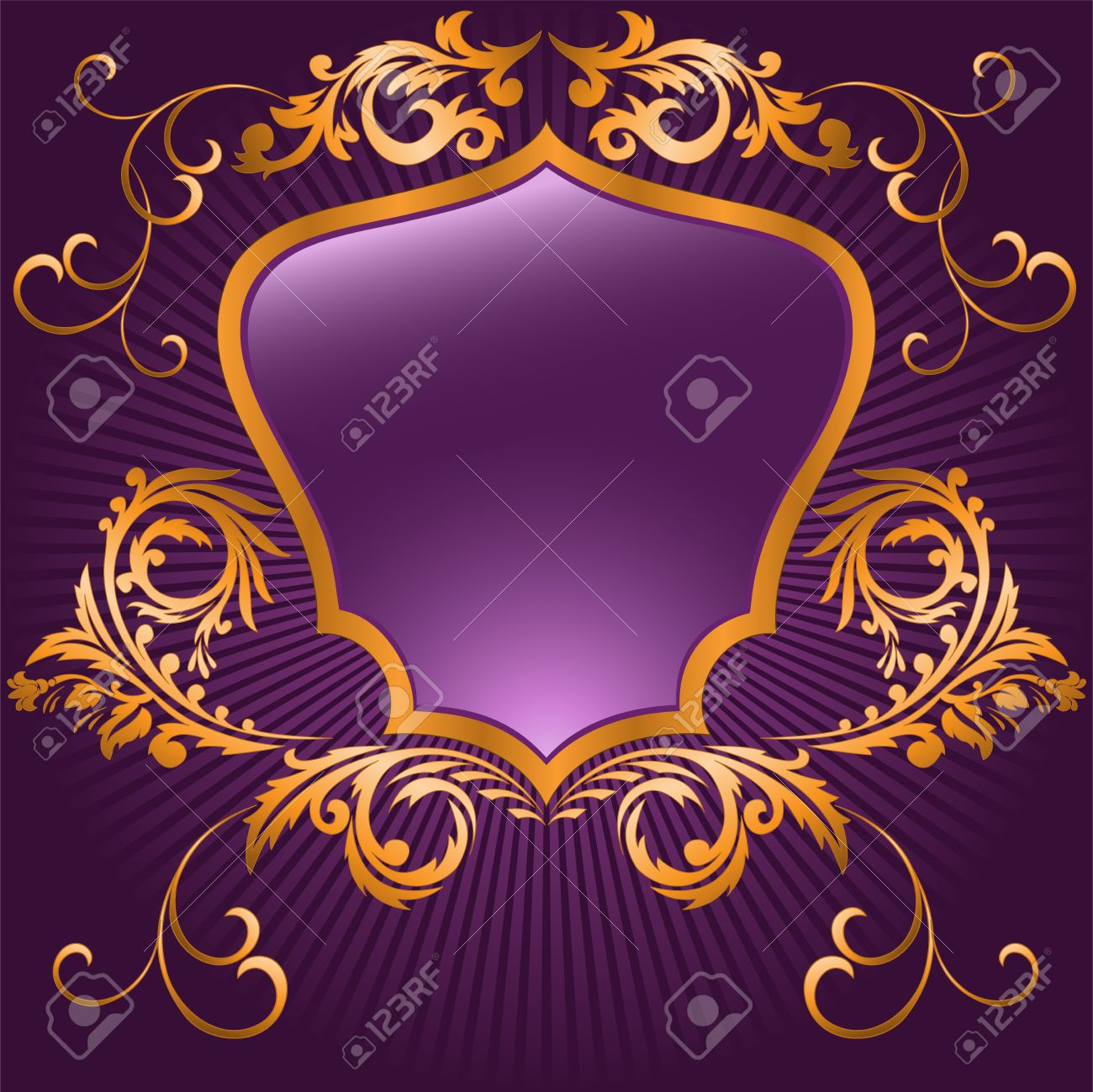 shaped shield in a gilded frame  on purple background Stock Vector - 9716499