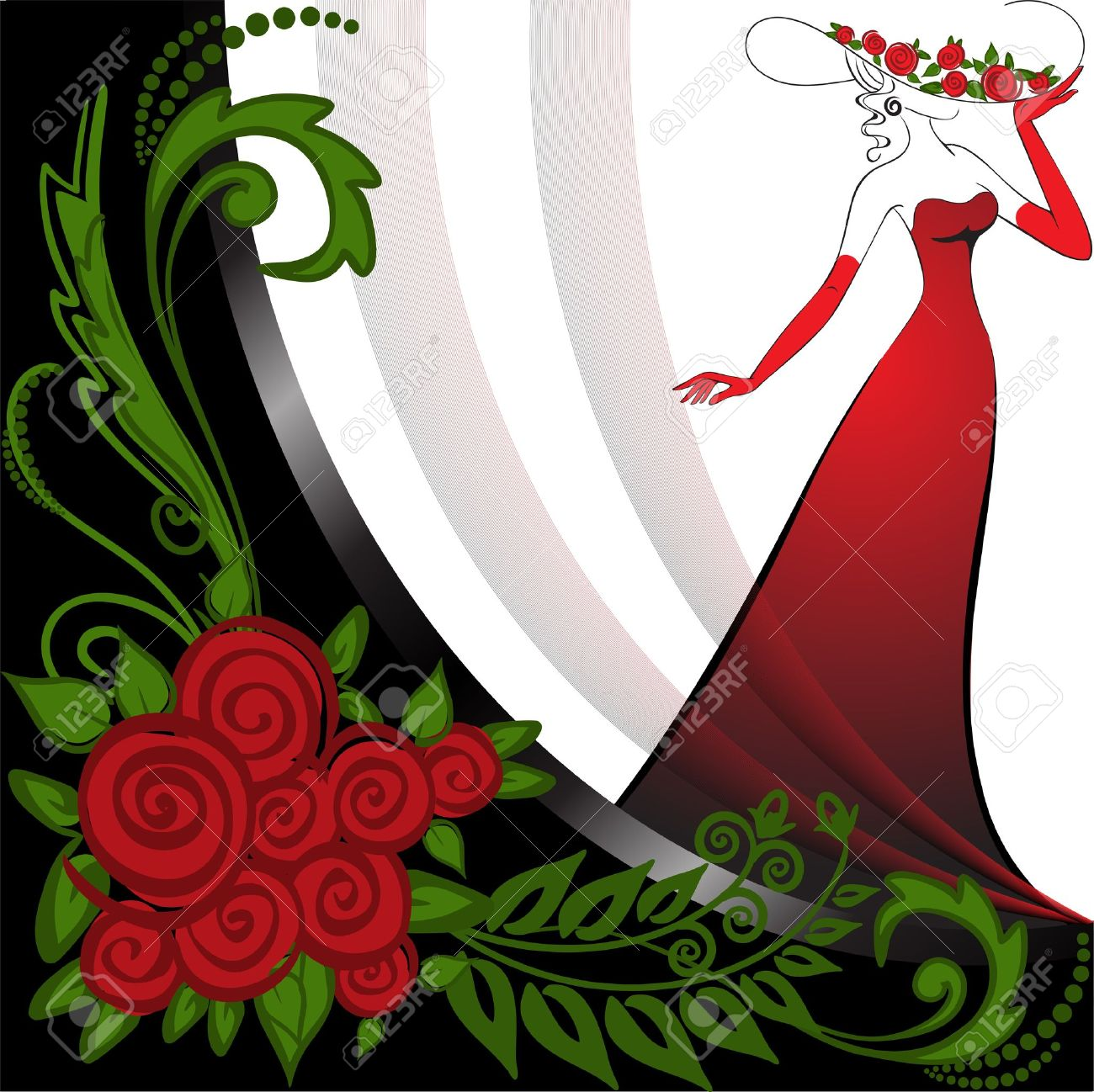 woman in a long red dress in black and white background with roses Stock Vector - 9716515