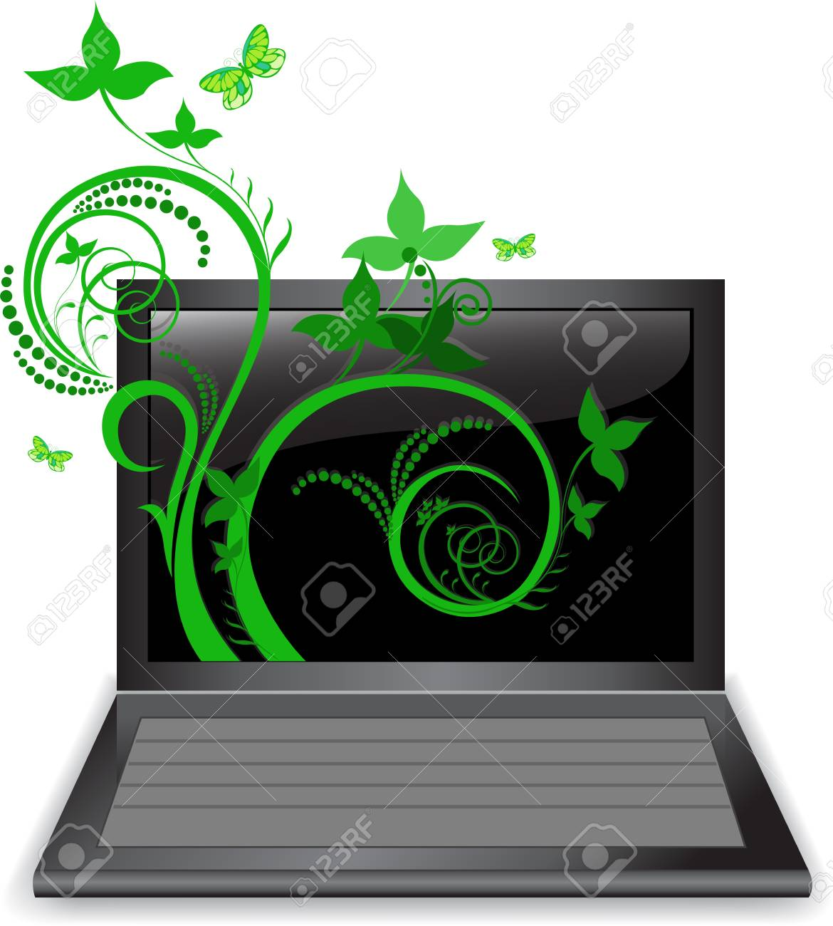 The beautiful plant curls from the laptop monitor Stock Vector - 9874911