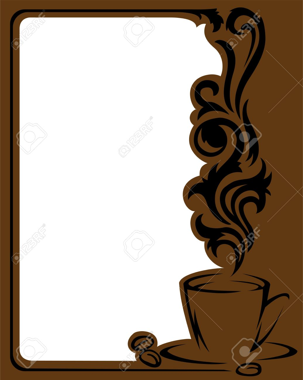 Vertical Frame With A Stylized A Cup Of Coffee And Coffee Beans ...