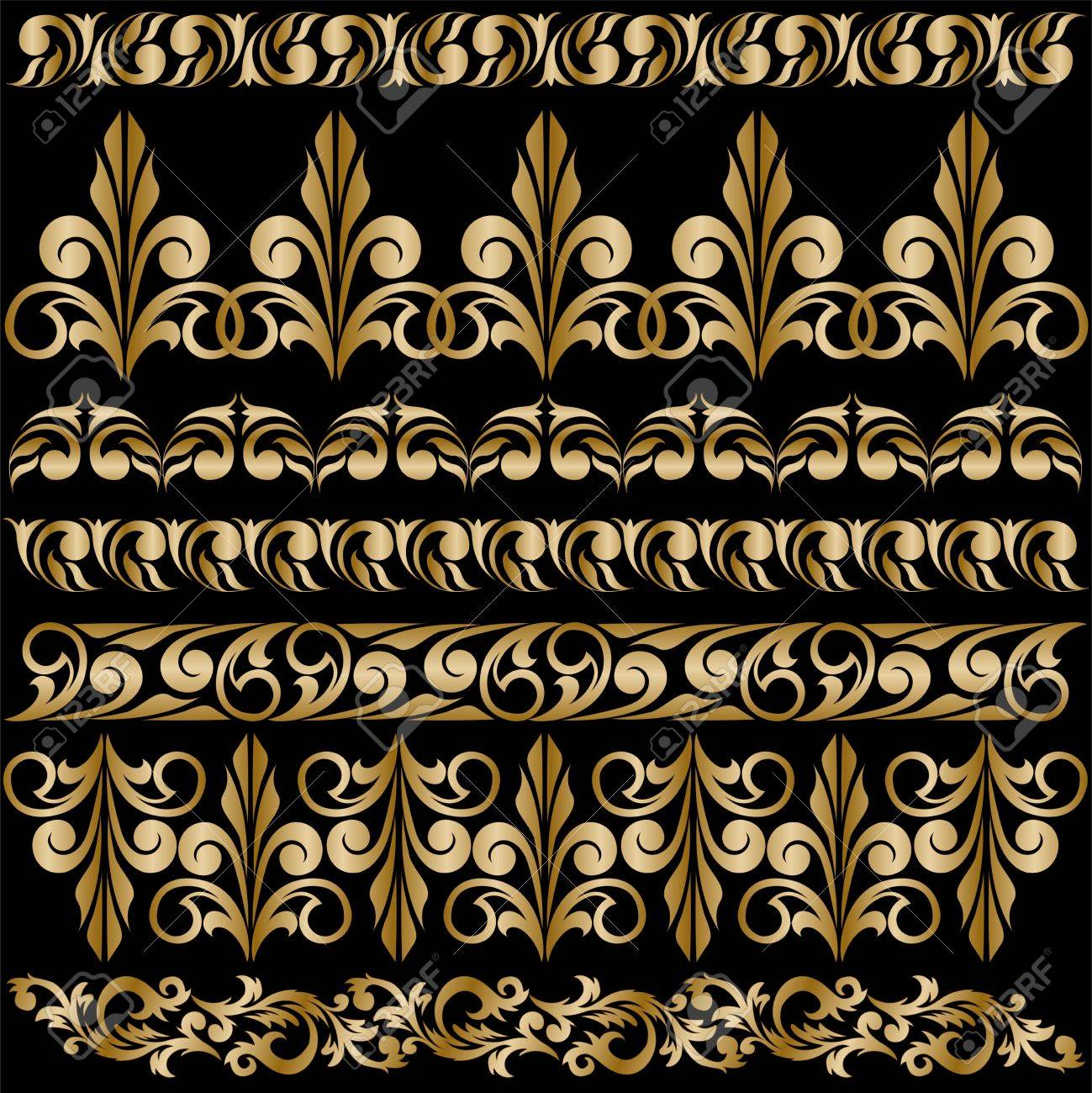 set of elegant gilt borders for design Stock Vector - 9876072
