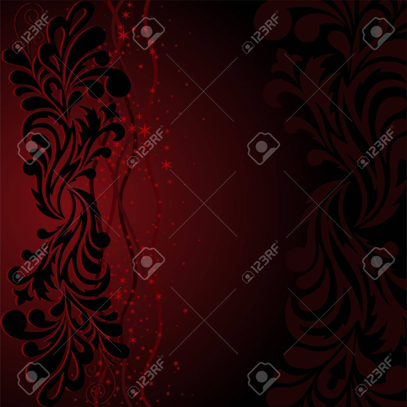 beautiful black ornament with stars and waves on a dark red background Stock Vector - 9875185