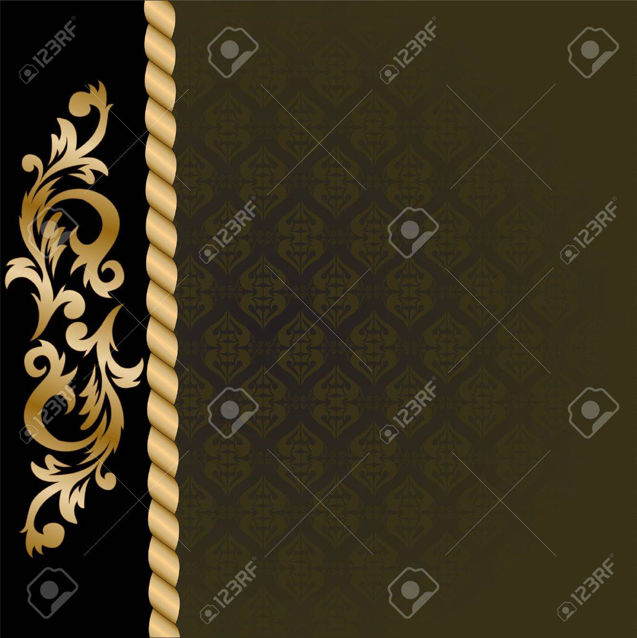 beautiful black background with a vertical gold ornaments Stock Vector - 10041772