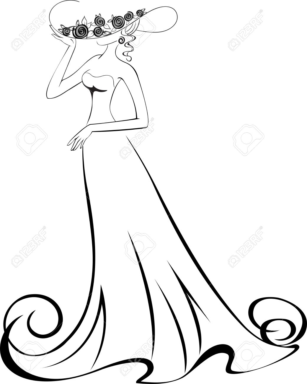 sketch of a slender woman in a long dress and hat Stock Vector - 10184390