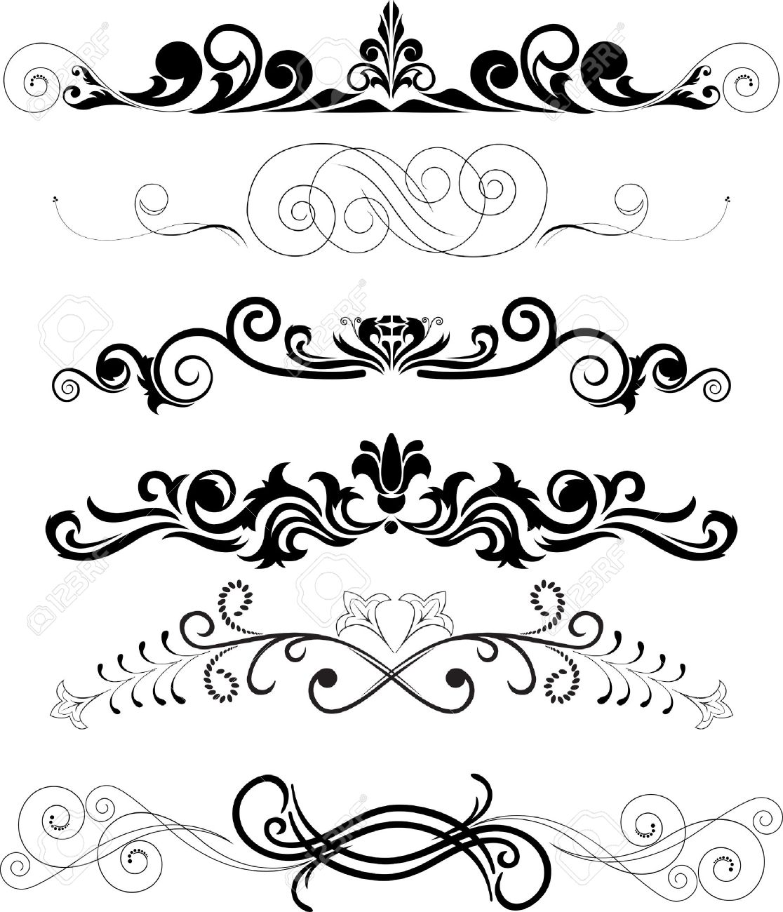Illustration Set Of Swirling Decorative Floral Elements Royalty