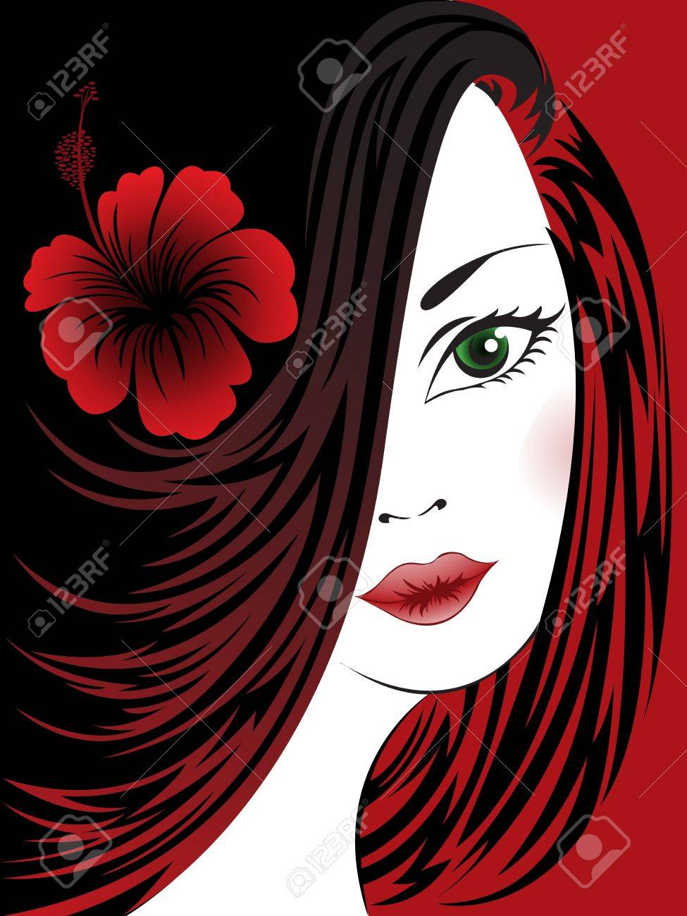 portrait of a beautiful woman with a hibiscus on a black and red Stock Vector - 10940464