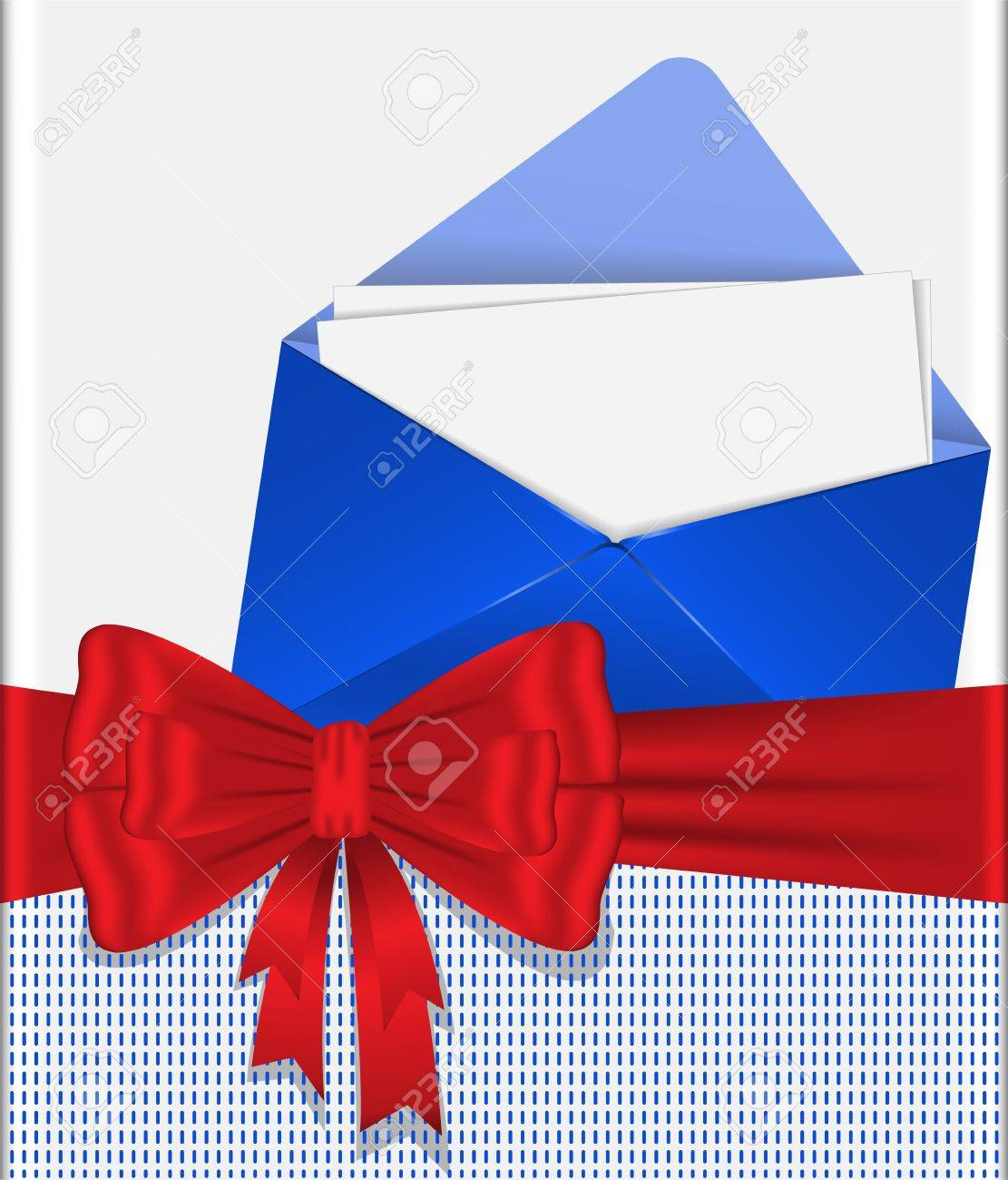 blue envelope  tied with red ribbon with  bow Stock Vector - 13231987