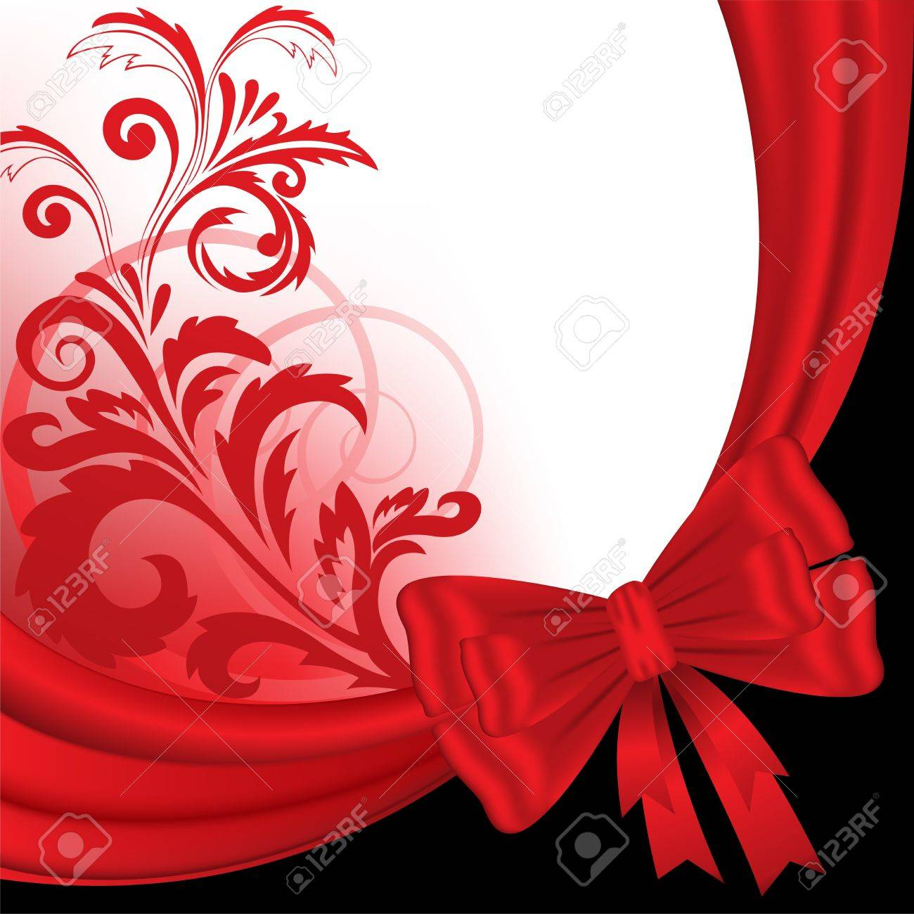 abstract black and red background with a silk ribbon and floral ornaments - 13231986