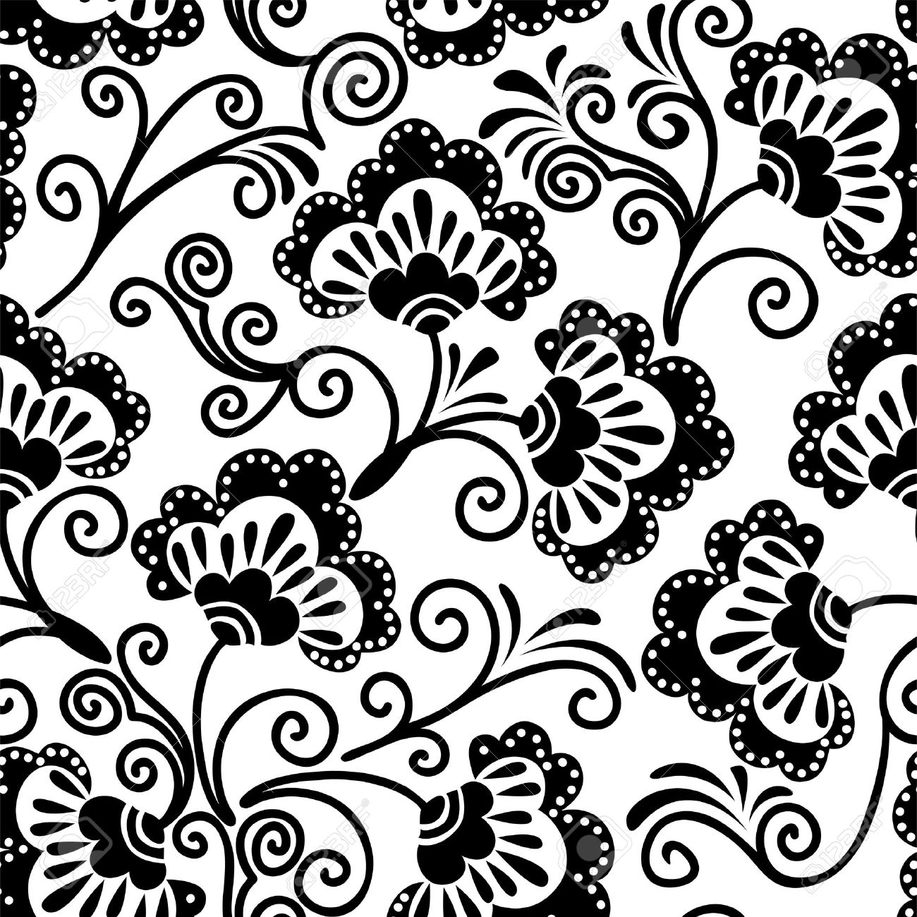 White And Black Floral Background Which Can Be Used As Seamless  -> Floral Fundo Preto