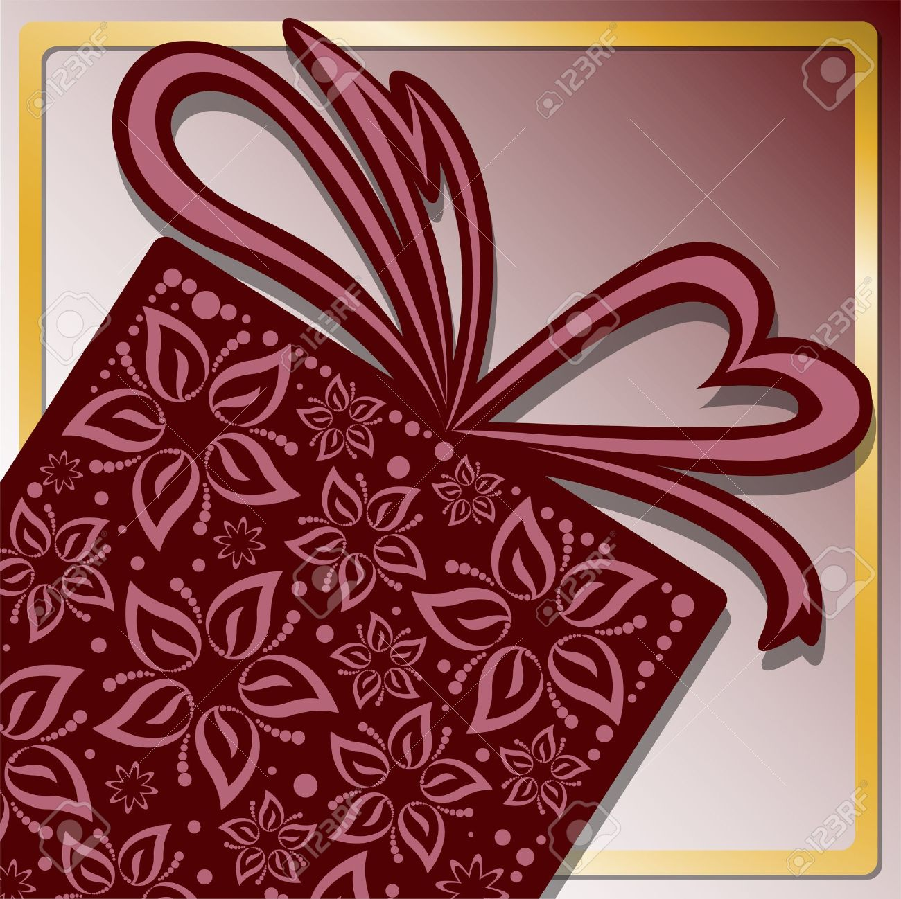 stylized gift box of beautiful flowers with golden frame Stock Vector - 15550173