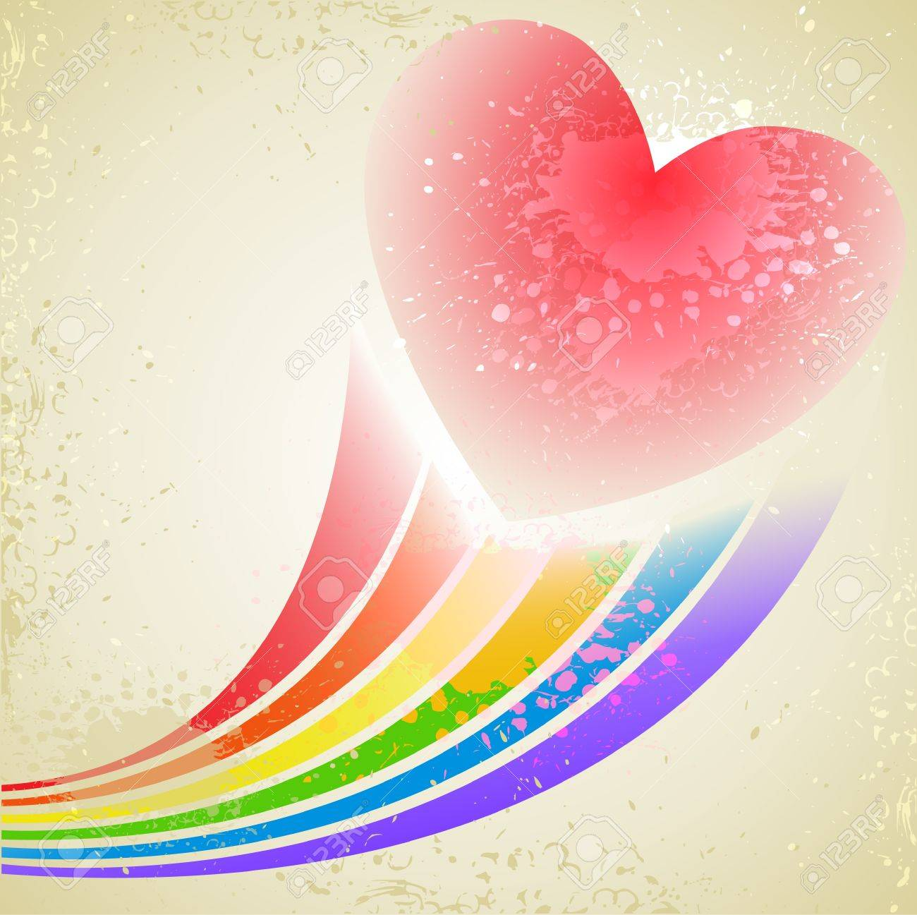 abstract splashed background with heart and rainbow beams Stock Vector - 21911420