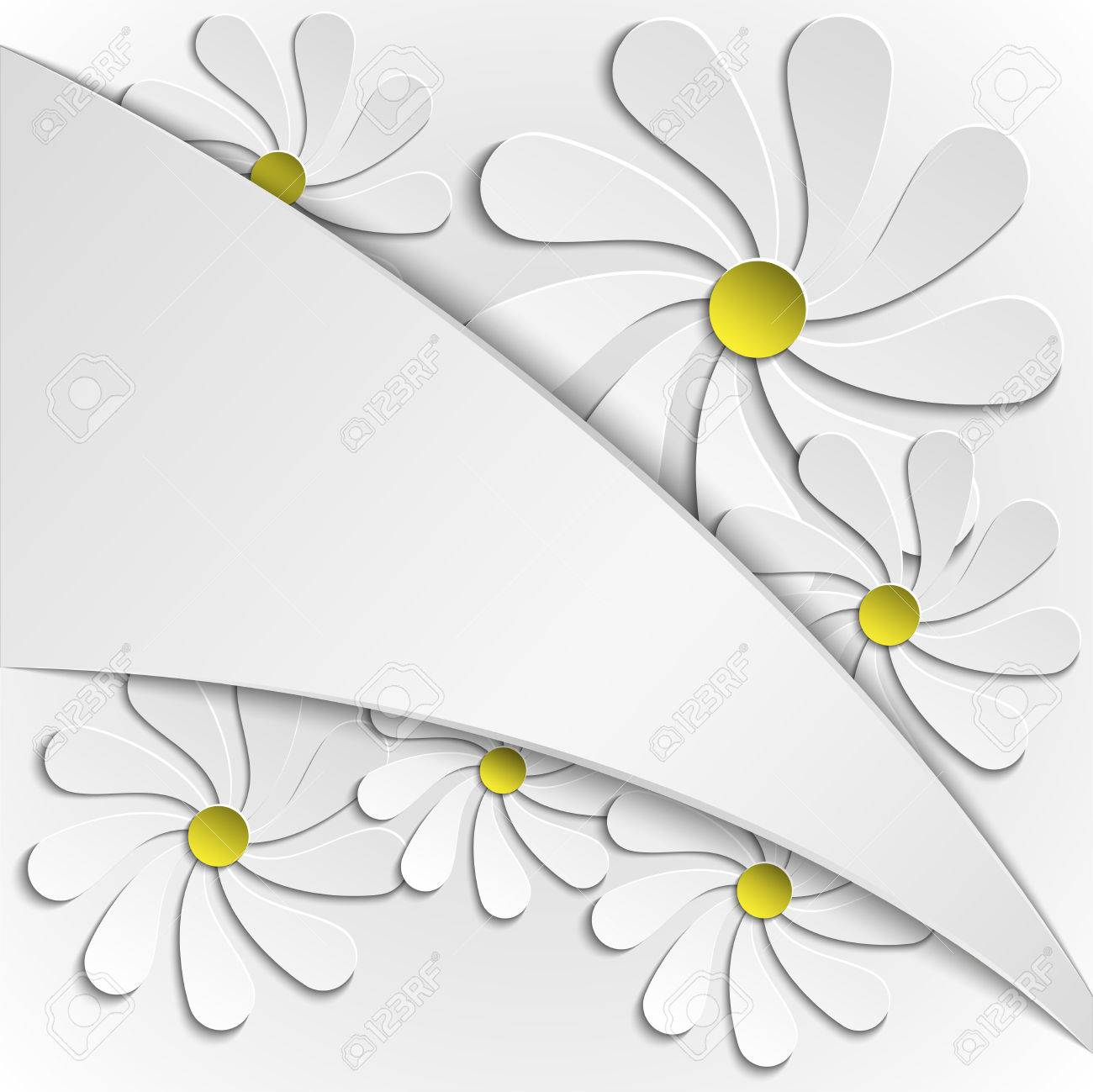 Abstract Background With Simple Paper Flowers Royalty Free Cliparts