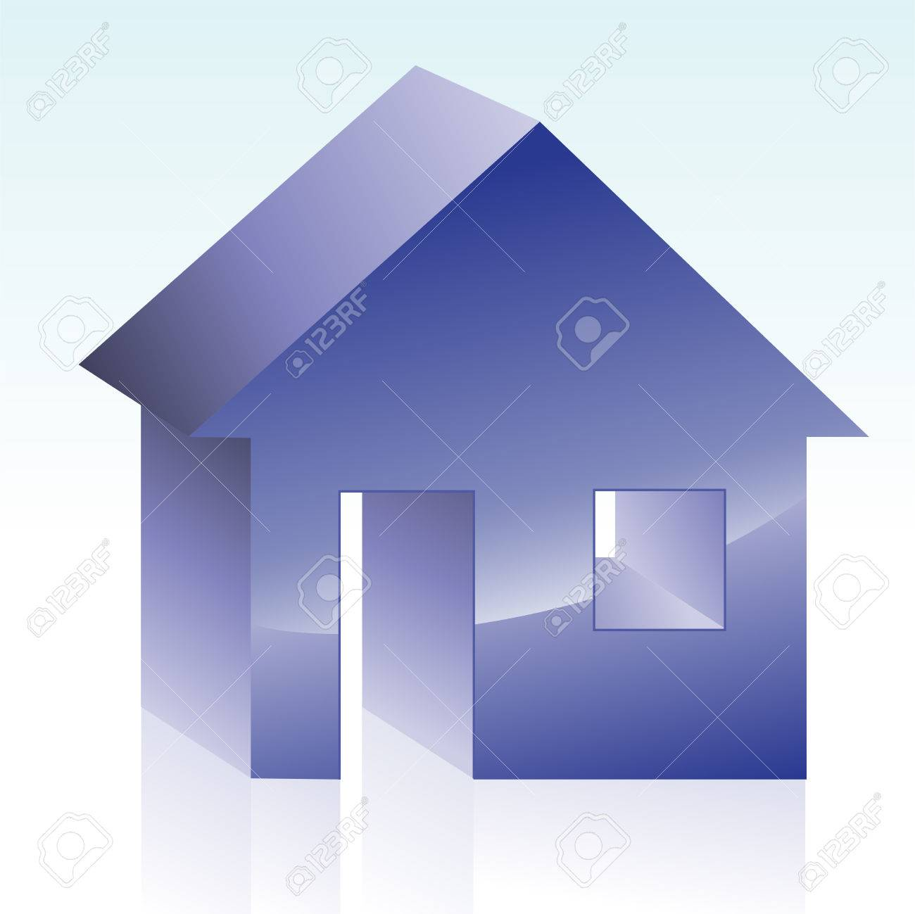 icon of a simple blue house on a white background Stock Vector - 24894729