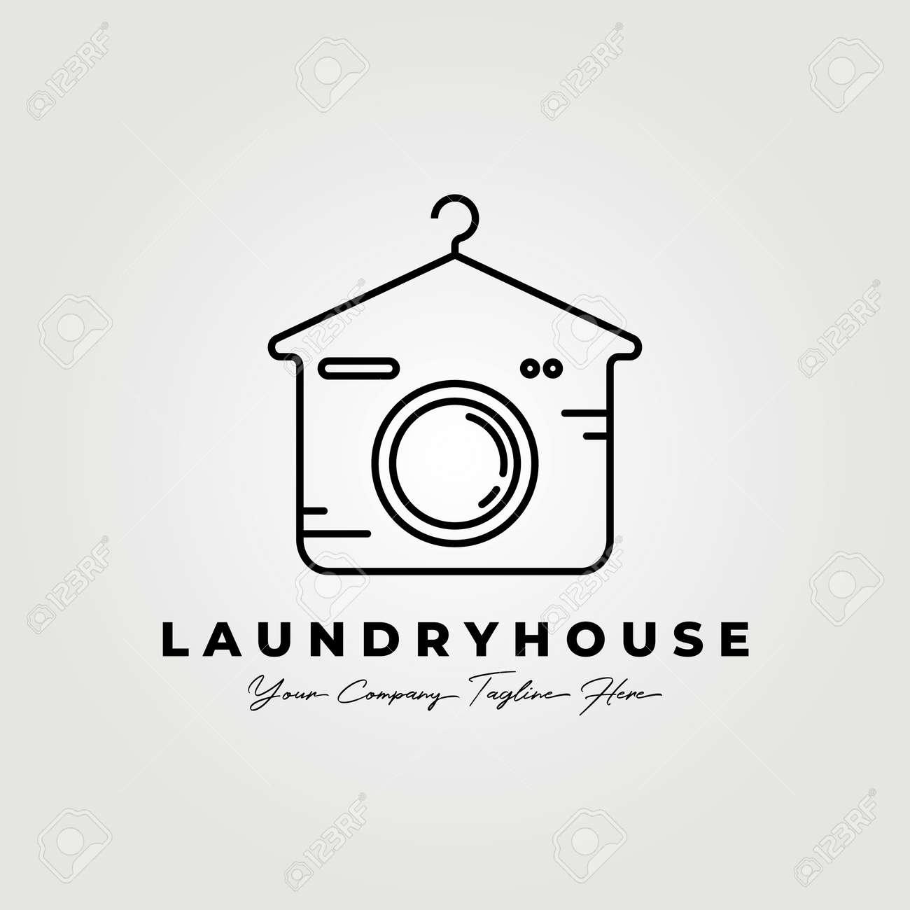 Laundry house line art logo vector illustration design graphic - 167132002