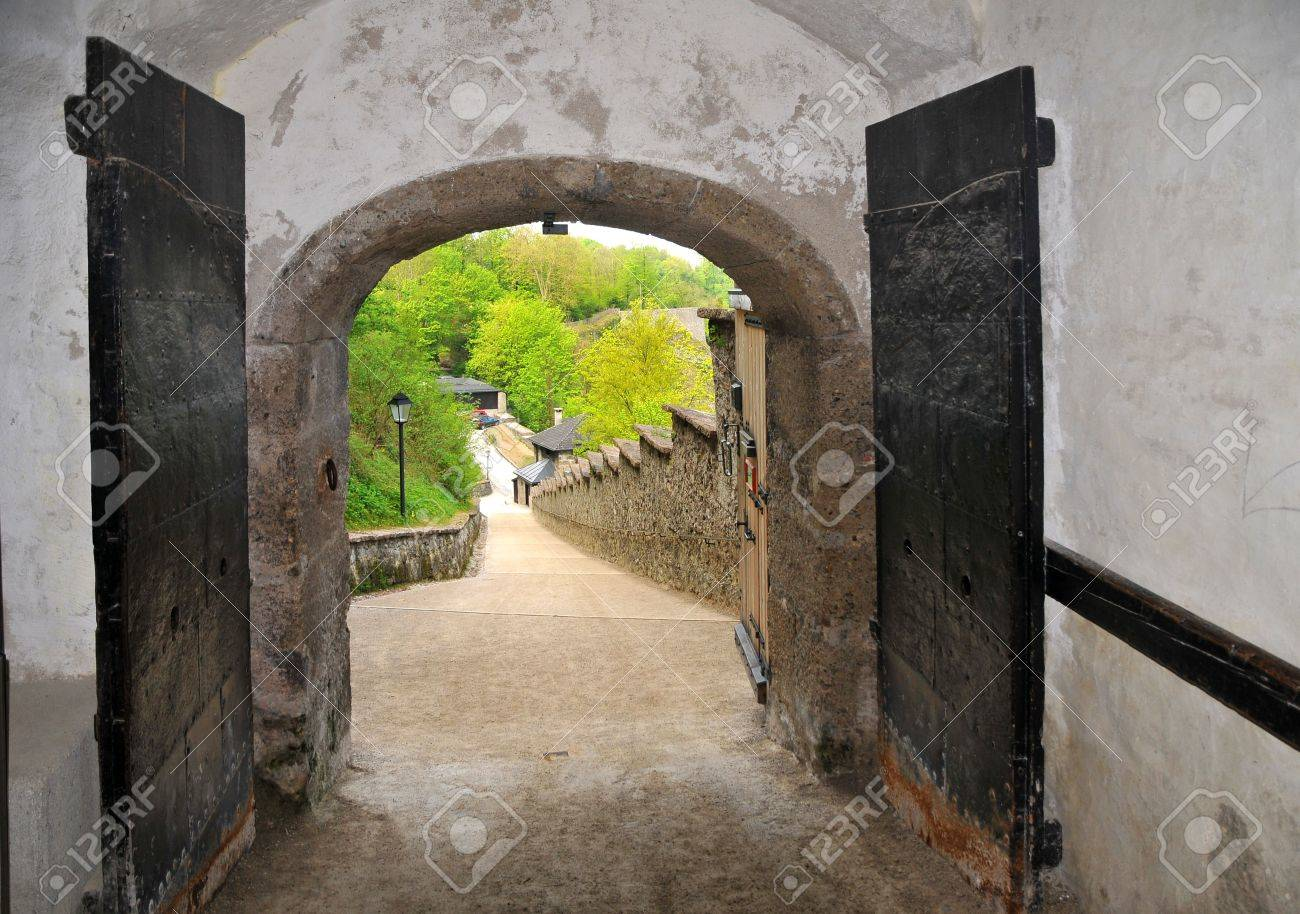 The old door in the castel Hohensalzburg open ever. Stock Photo - 4917463