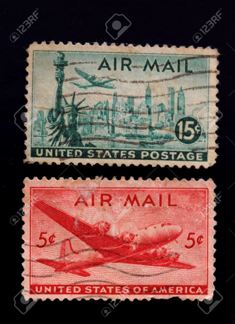 A Collection Of Vintage US Air Mail Stamps 15 Cents Statue Liberty USA And