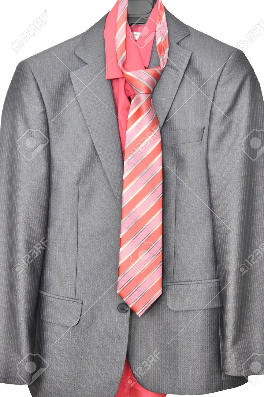 Wedding Gray Men\'s Suit With A Pink Shirt And Tie Stock Photo ...