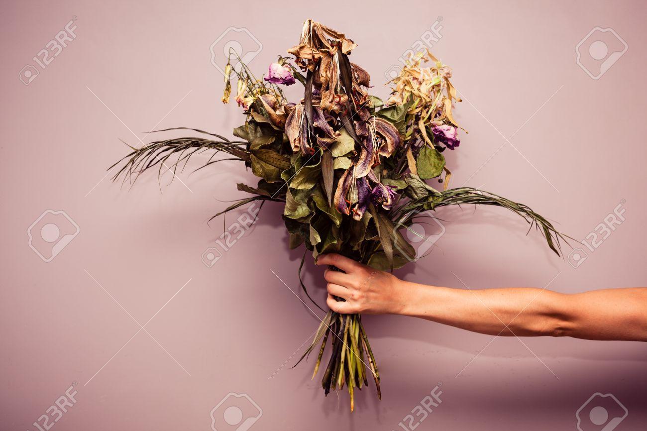 Banque d\u0027images , La main d\u0027une femme tient un bouquet de fleurs fanées