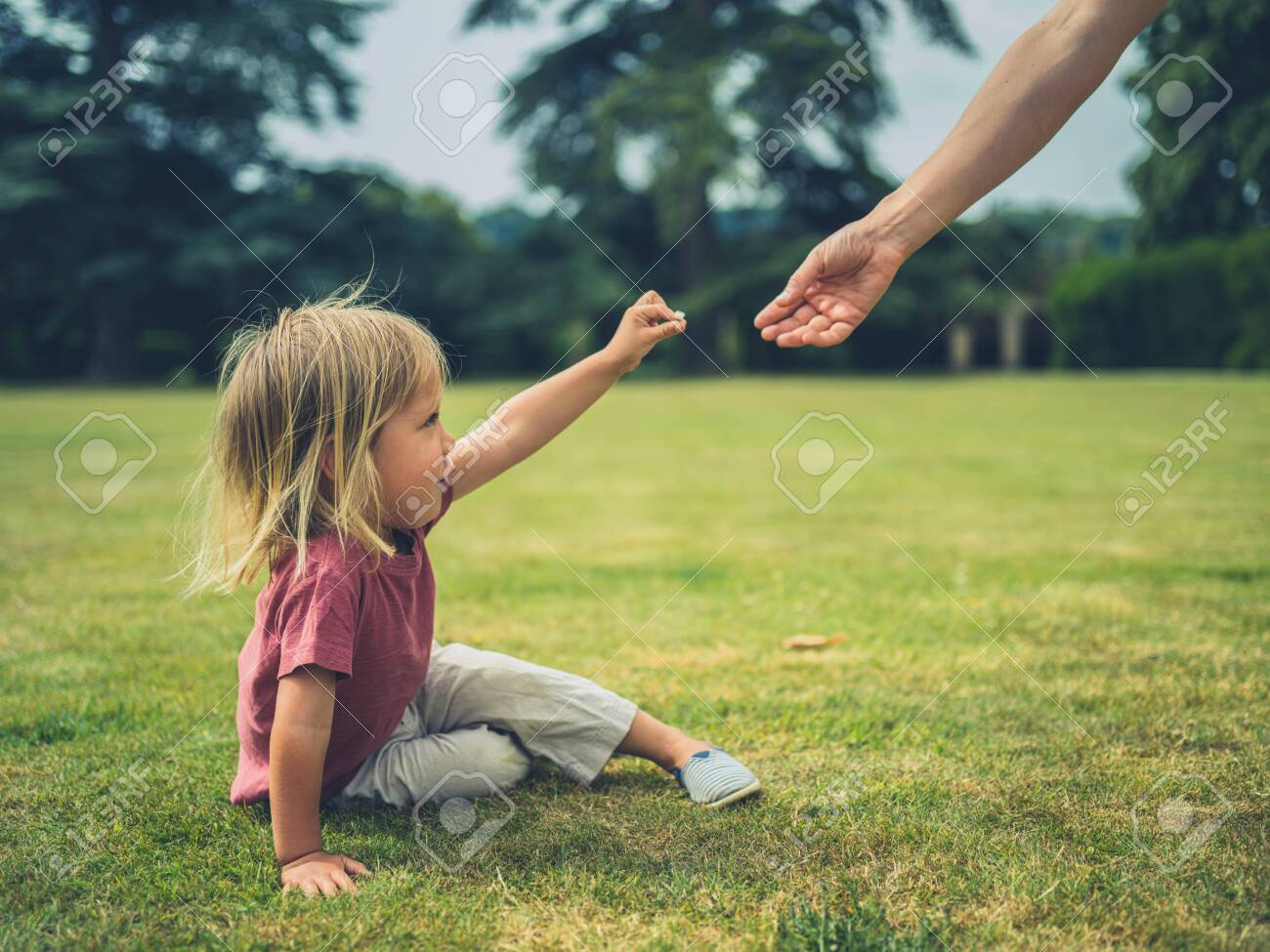 A little toddler is sitting on the grass in a park and is offering his mother a flower - 129809647