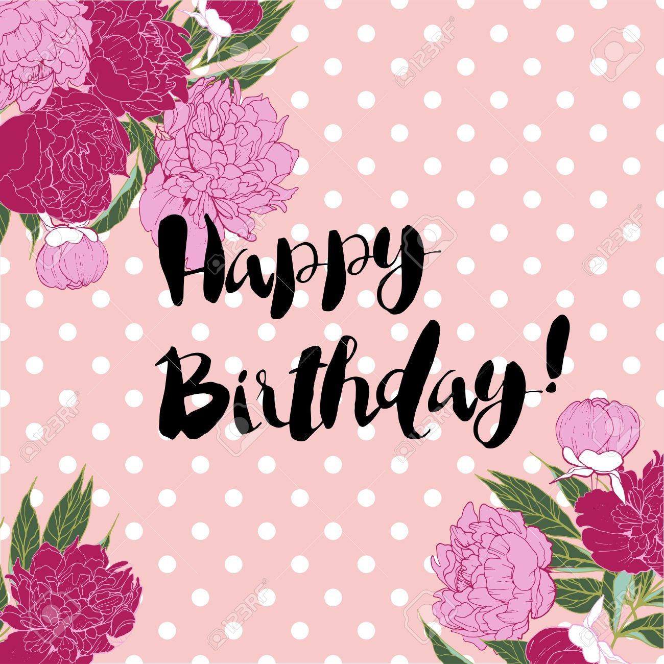 Vector happy birthday greeting card in shebby chic style hand vector happy birthday greeting card in shebby chic style hand letterin on rose quartz polka kristyandbryce Image collections