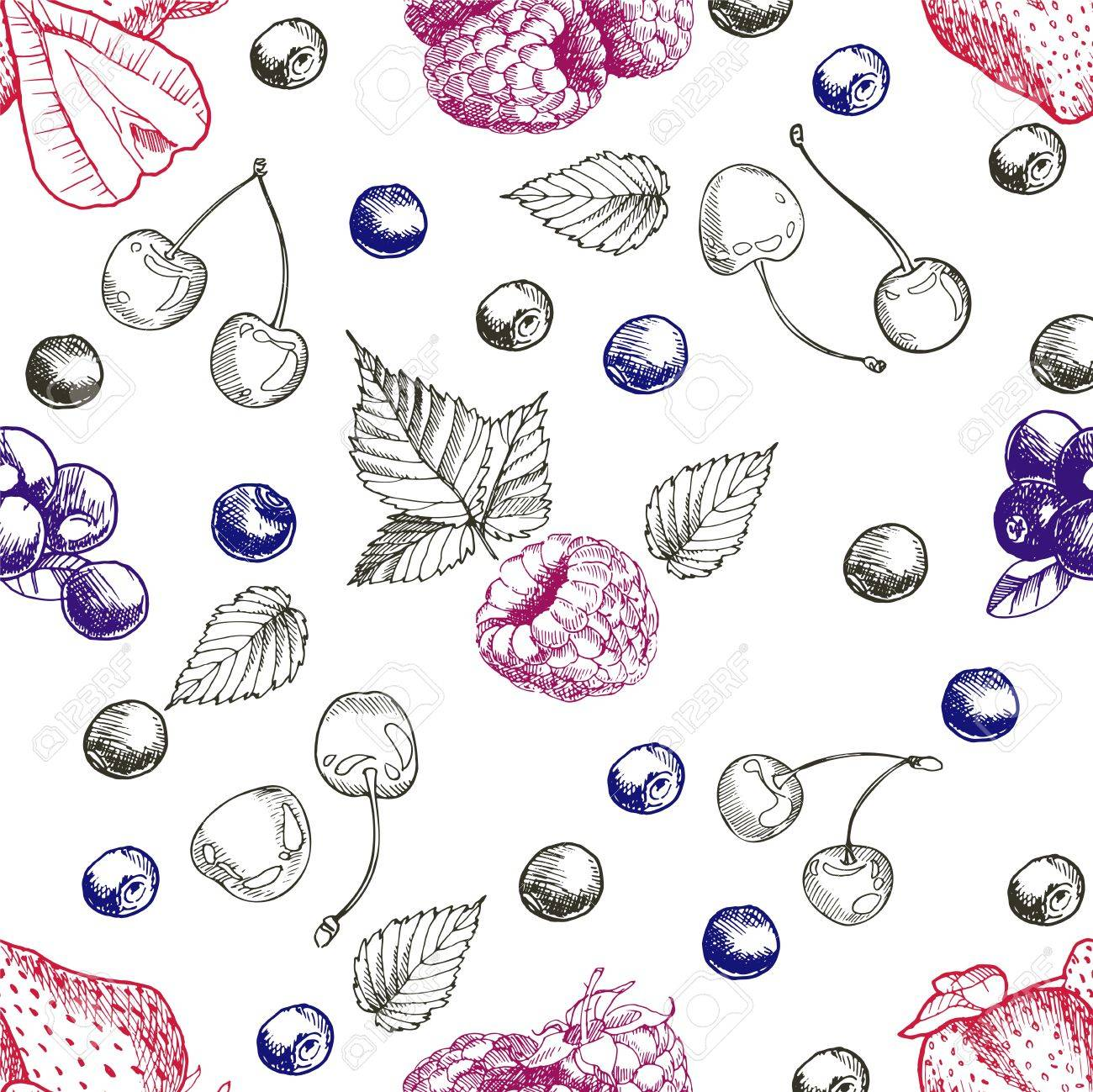Vector Seamless Pattern Of Summer Red Berries Strawberry Cherry