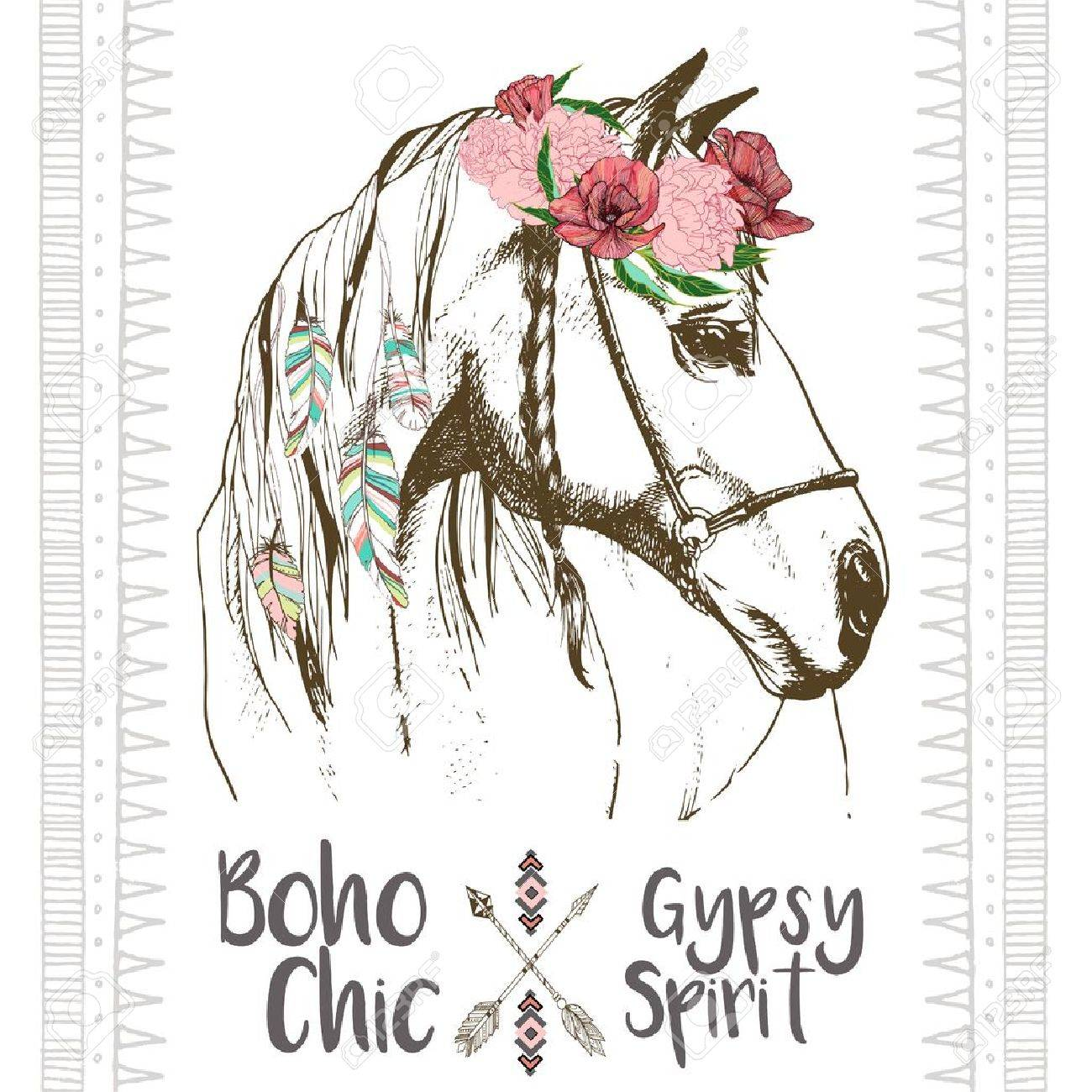 Vector fashion boho chick style horse with flower, feather wreath and arrow. Traditional bohemian deoration. Use for poster, party, fashion, events, promotion, shop, store, design. - 58748485
