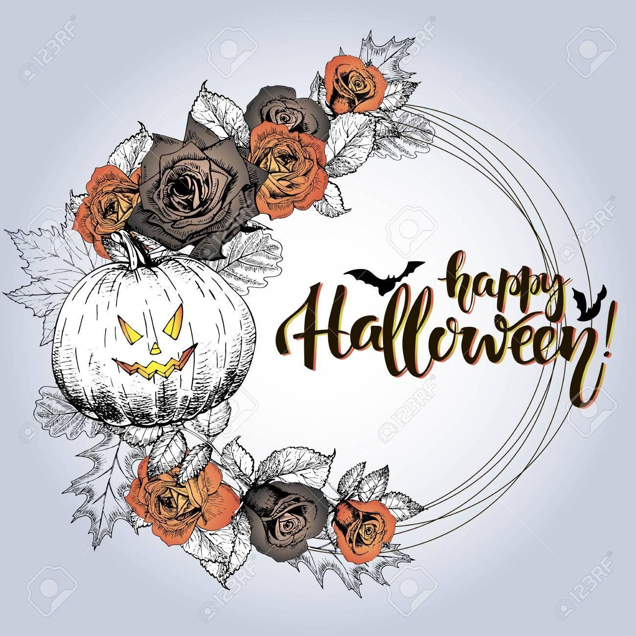 Affiche De Vector Avec Couronne De Fleurs Joyeux Halloween Roses