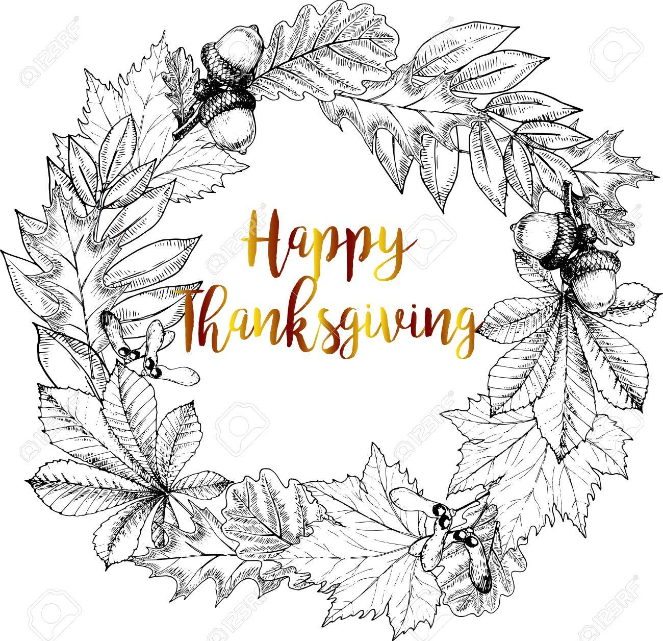 Vector Round Border Greeting Card For Thanksgiving Autumn Leaves