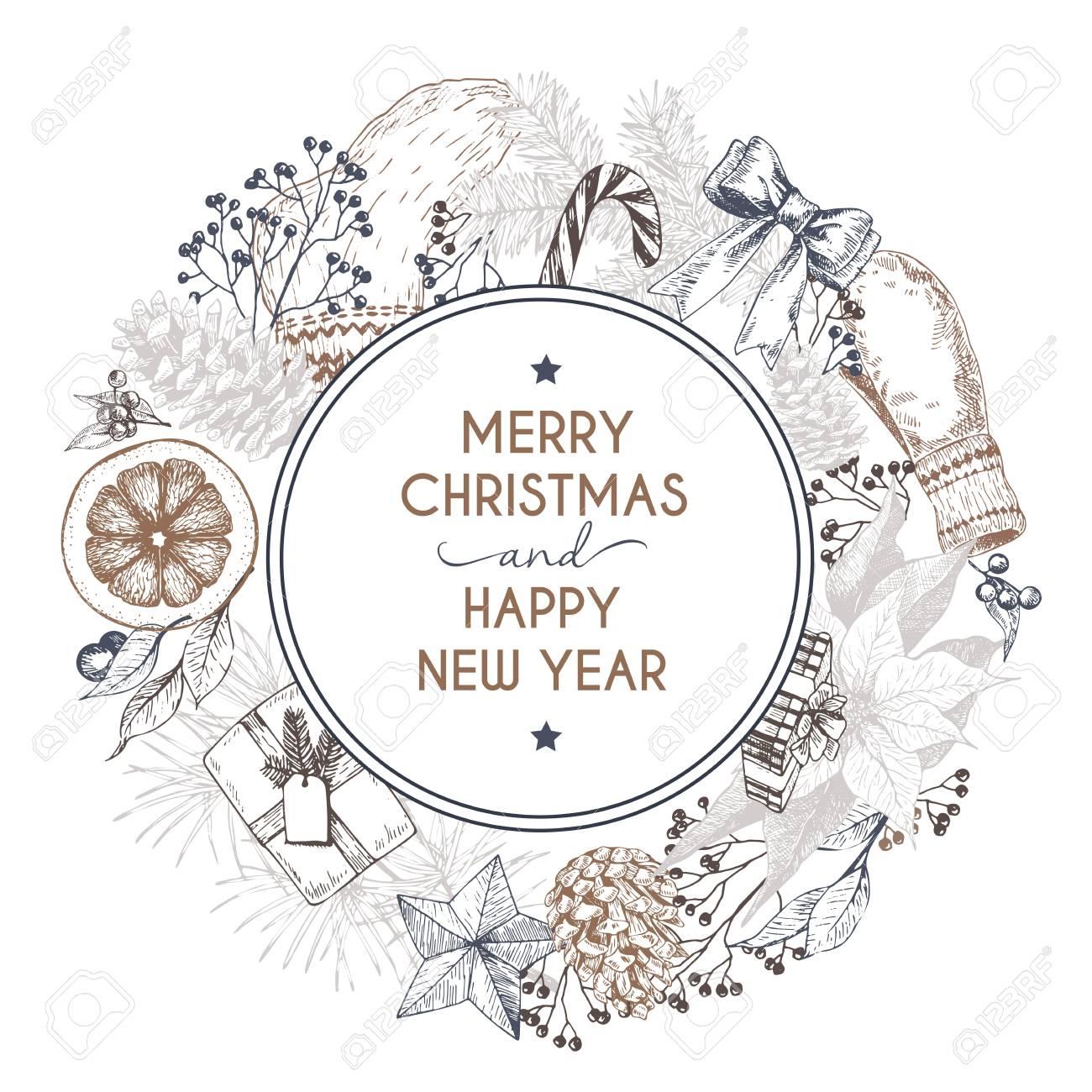 Vector Handgezeichnete Grußkarte. Frohe Weihnachten Und Ein Gutes ...