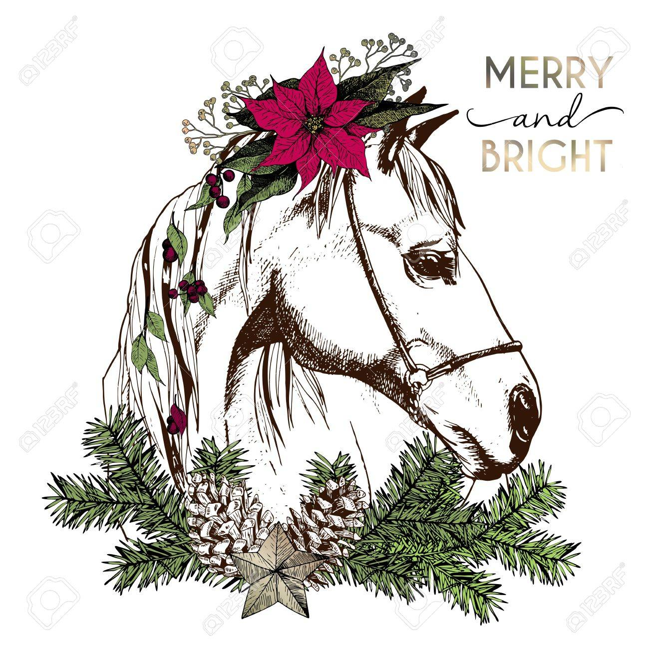 Christmas Horse Pictures.Vector Portrait Of Boho Christmas Horse Decorated With Winter