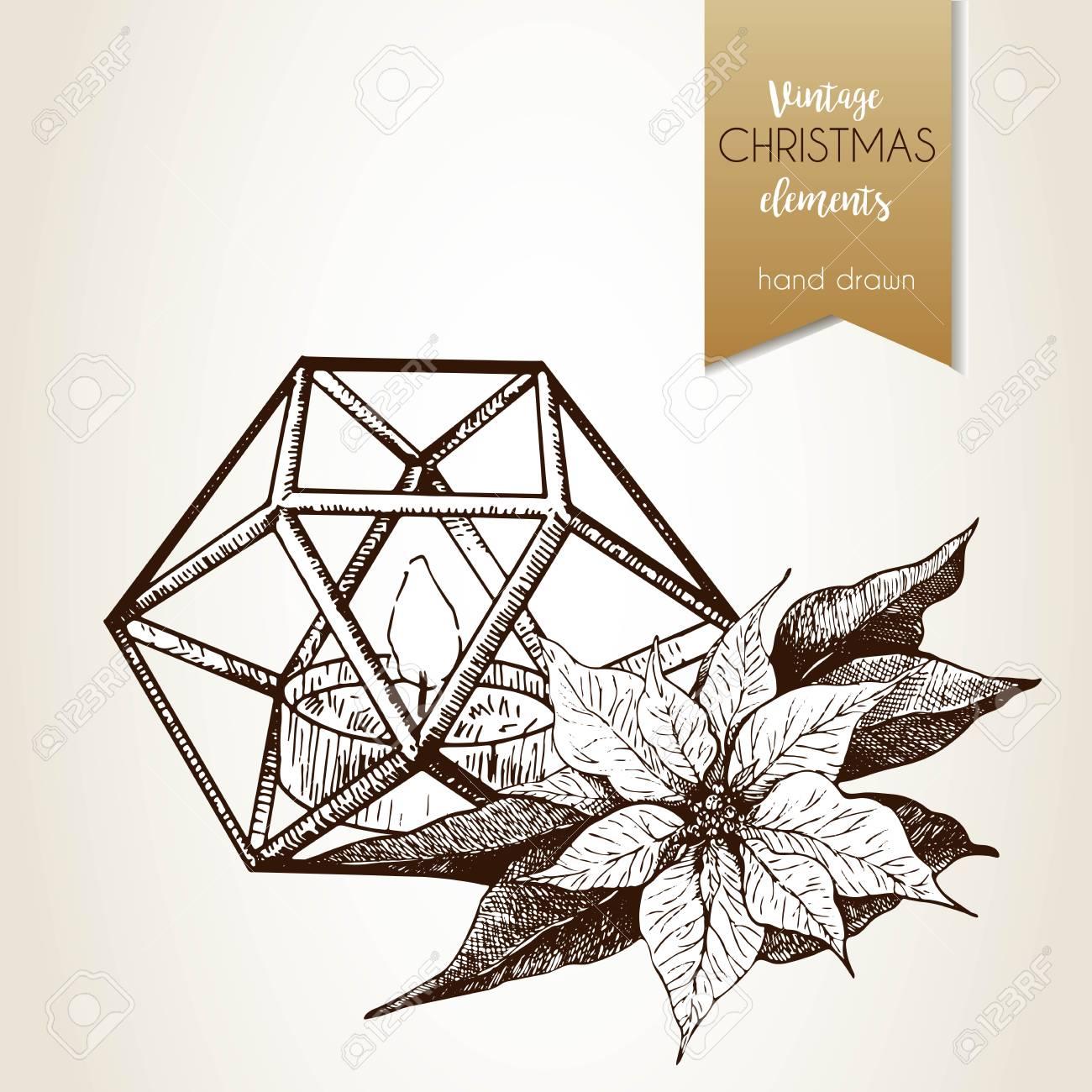 Vector Hand Drawn Illustartion Of Poinsettia And Geometric Lantern