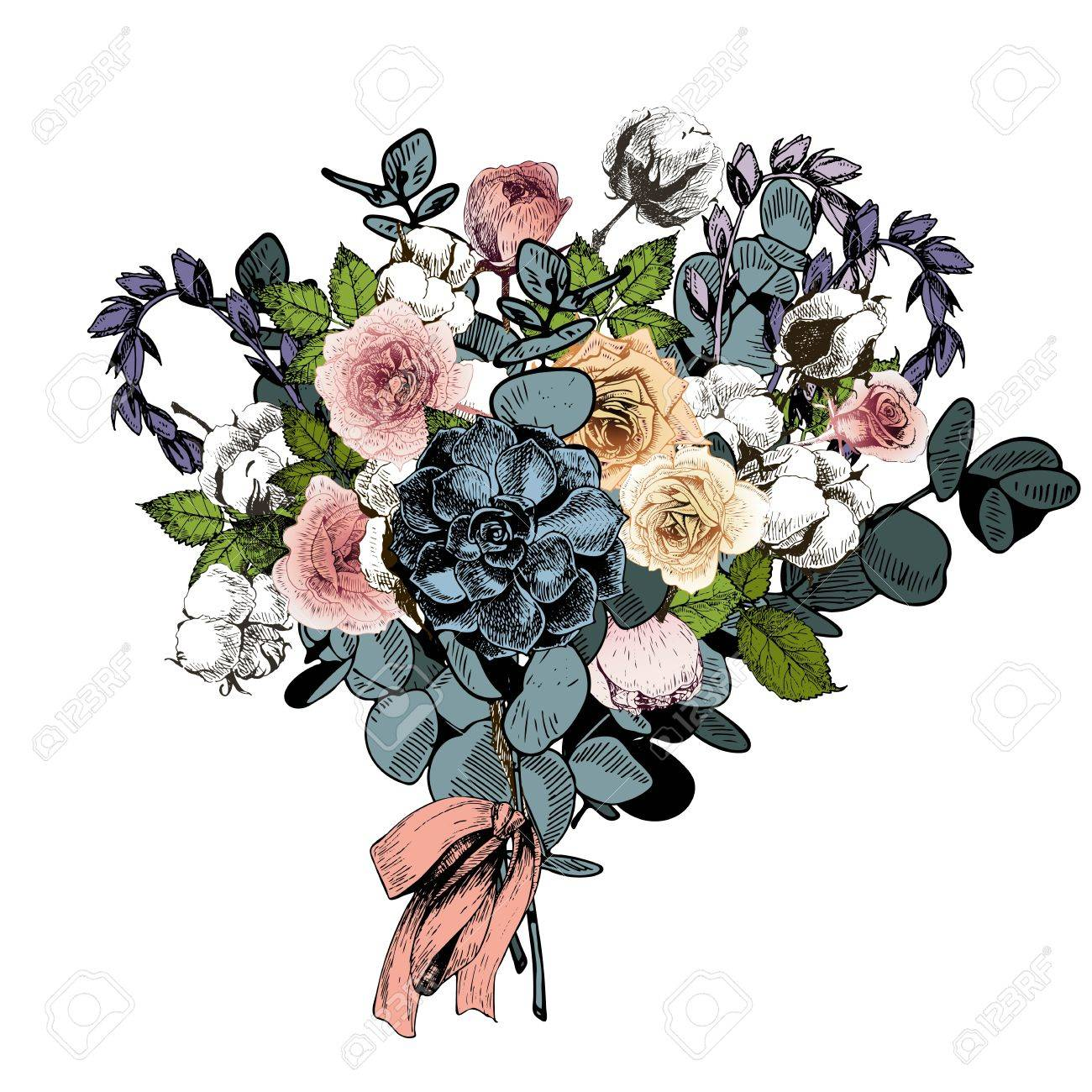 Vector Flower Arrangement. Wedding Bouquet. English Roses ...