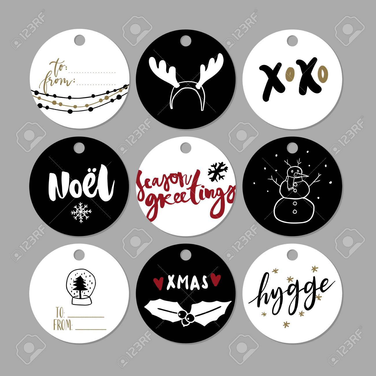 image relating to Cute Gift Tags Printable referred to as Established of doodle Xmas reward tags. Vector hand drawn lovely icons