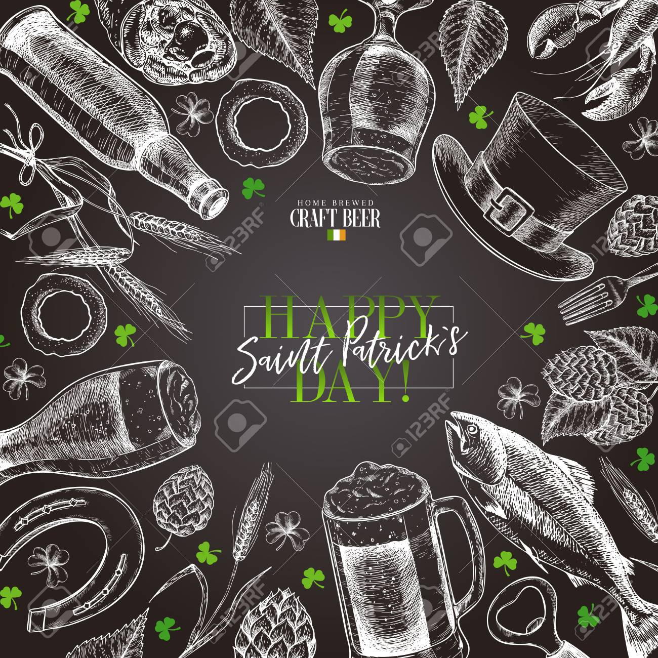 Hand drawn Saint Patrick day pub poster. Beer and snacks. Vector glass, bottle, clover, horseshoe, barley, hop, food, hat. Bar alcohol beverages. Irish craft brewery Discount banner flyer poster, menu - 125278977
