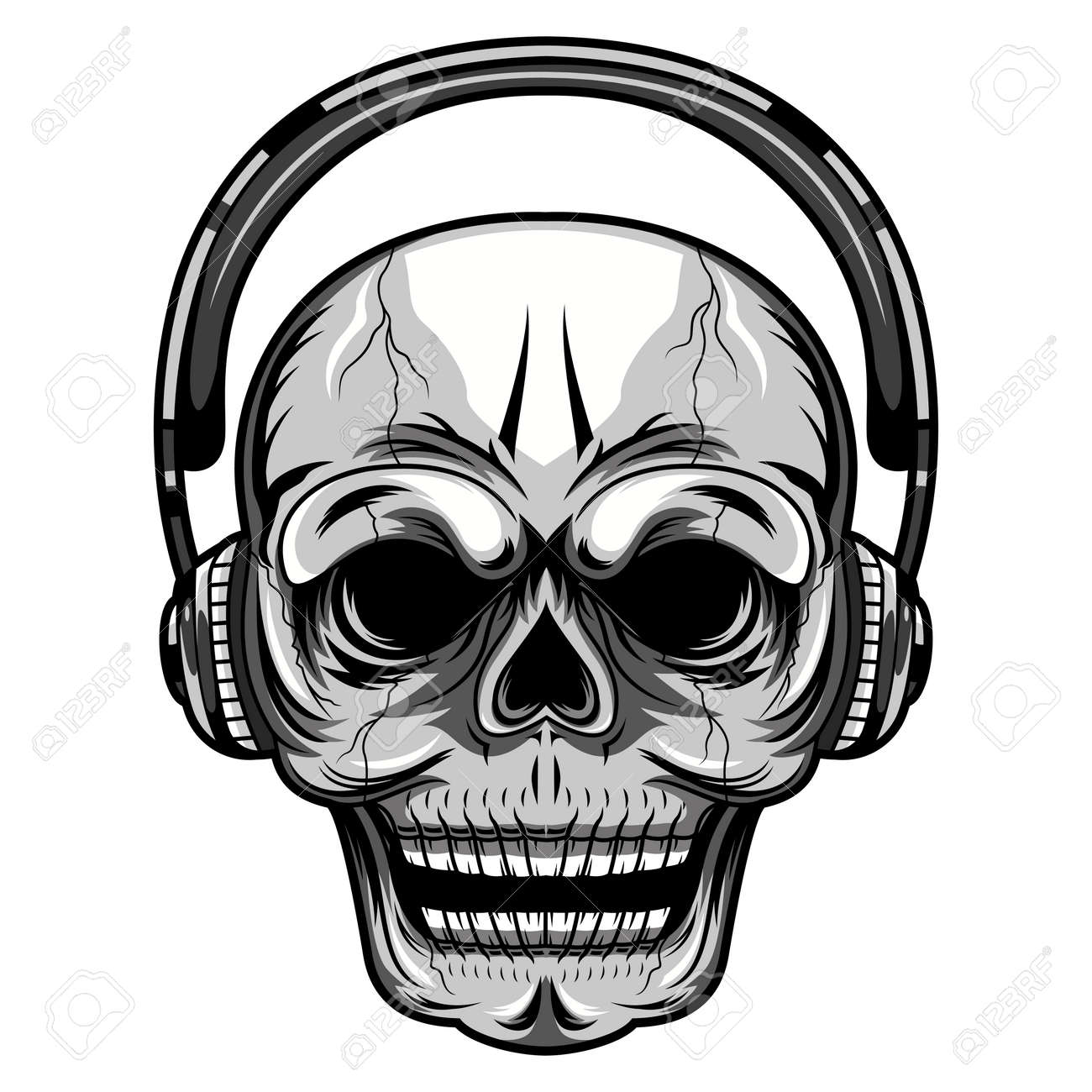 Skull with a headset mascot illustration - 167517035