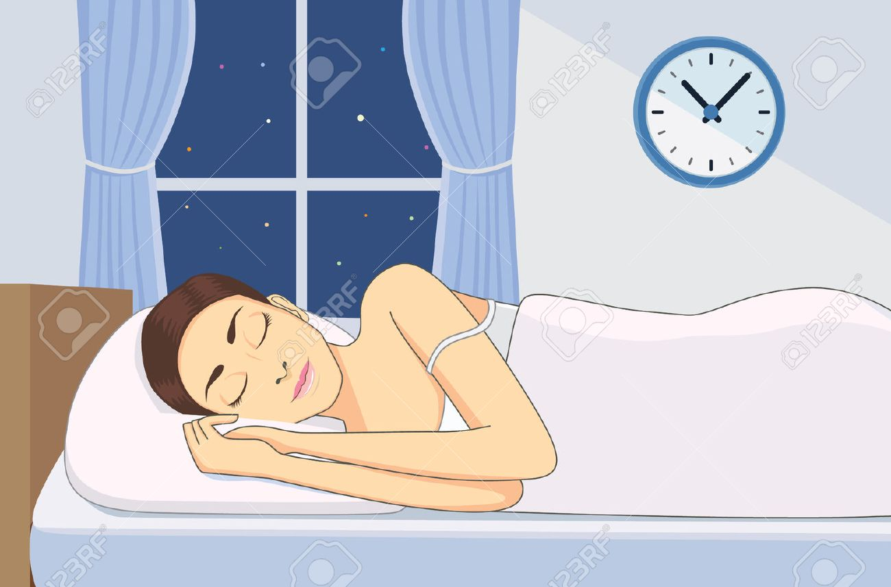 Bedroom at night time - Cartoon Night Time Bedroom Photo Stock Vector Women Sleeping At Good Time For Health In